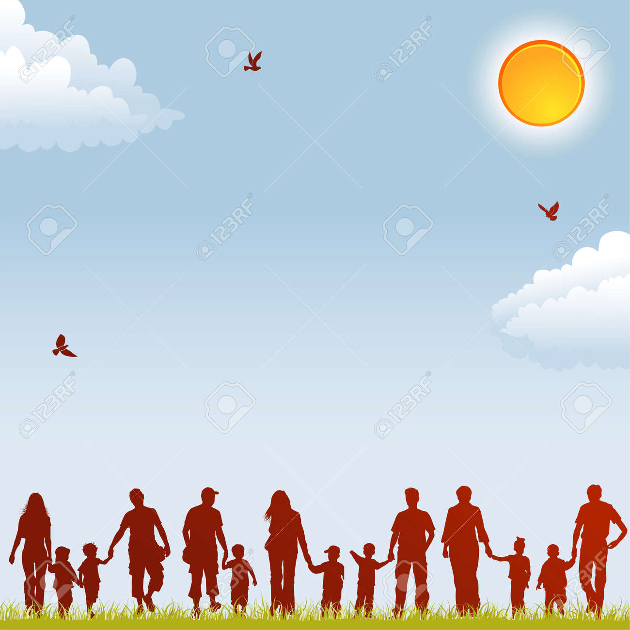 Silhouettes of family on nature background with bird, sun and grass, element for design, vector illustration Stock Vector - 9411603