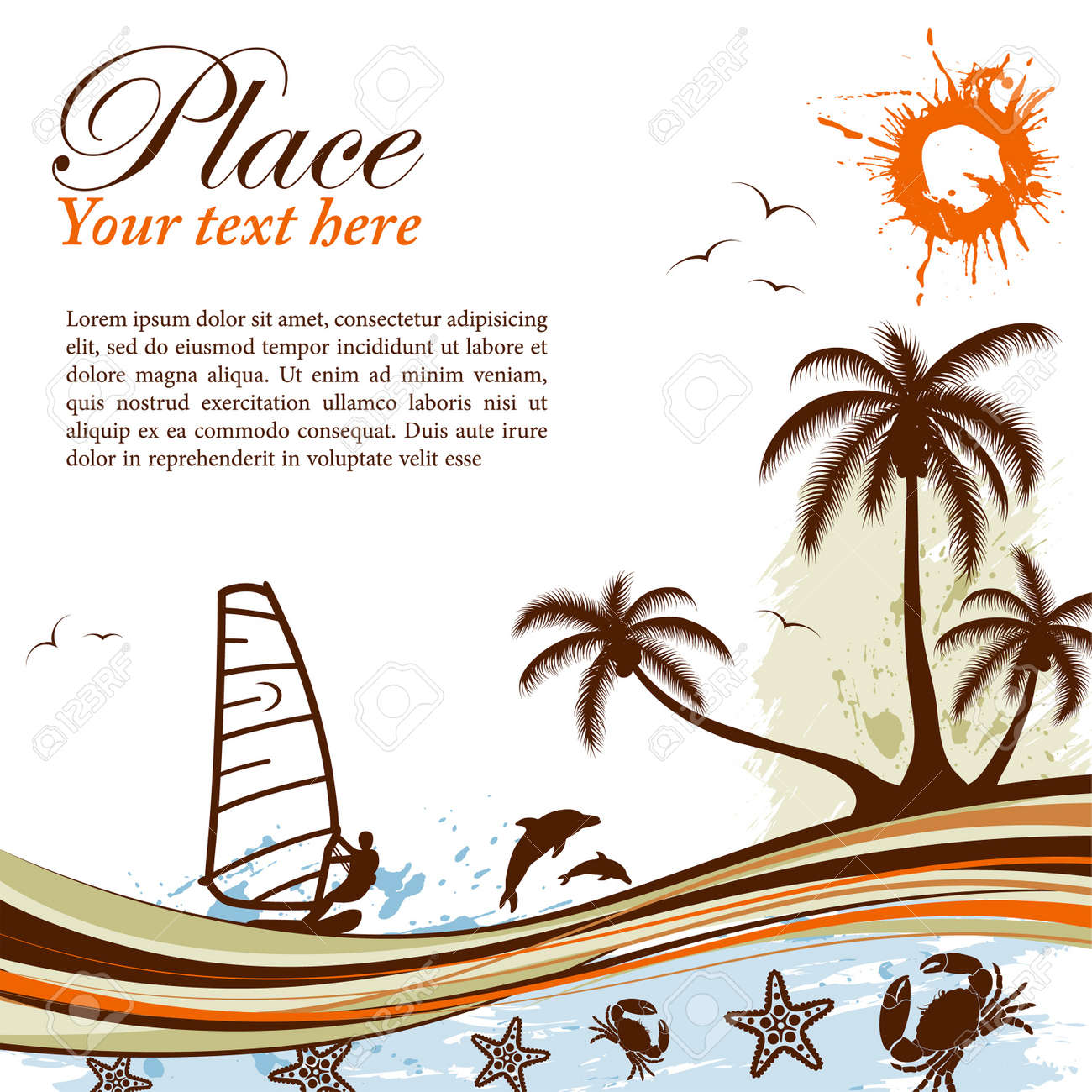 Grunge summer background with palm tree, dolphin, windsurf, crab, wave pattern, vector illustration Stock Vector - 9794566