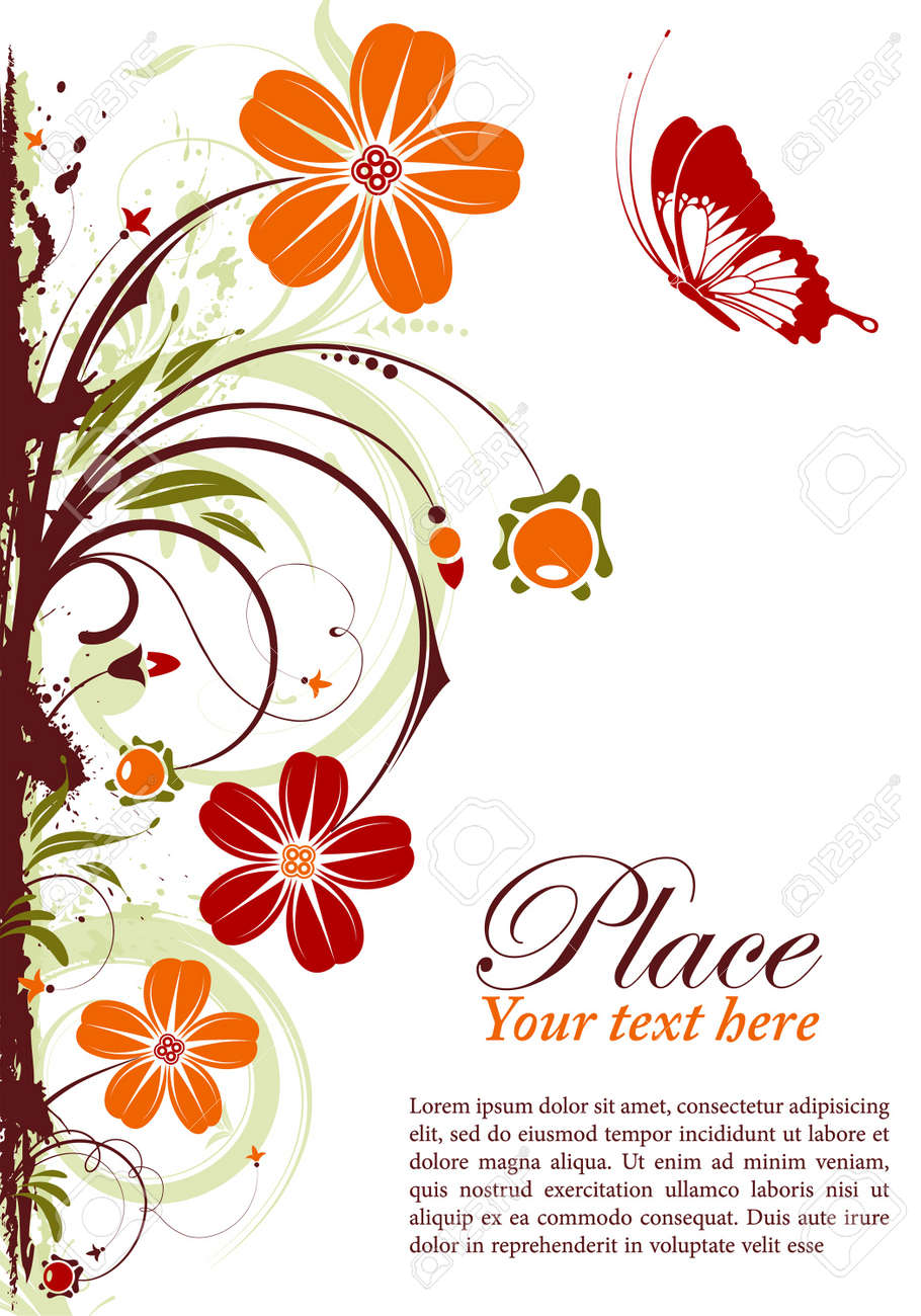 Grunge floral frame with butterfly, element for design Stock Vector - 10071354