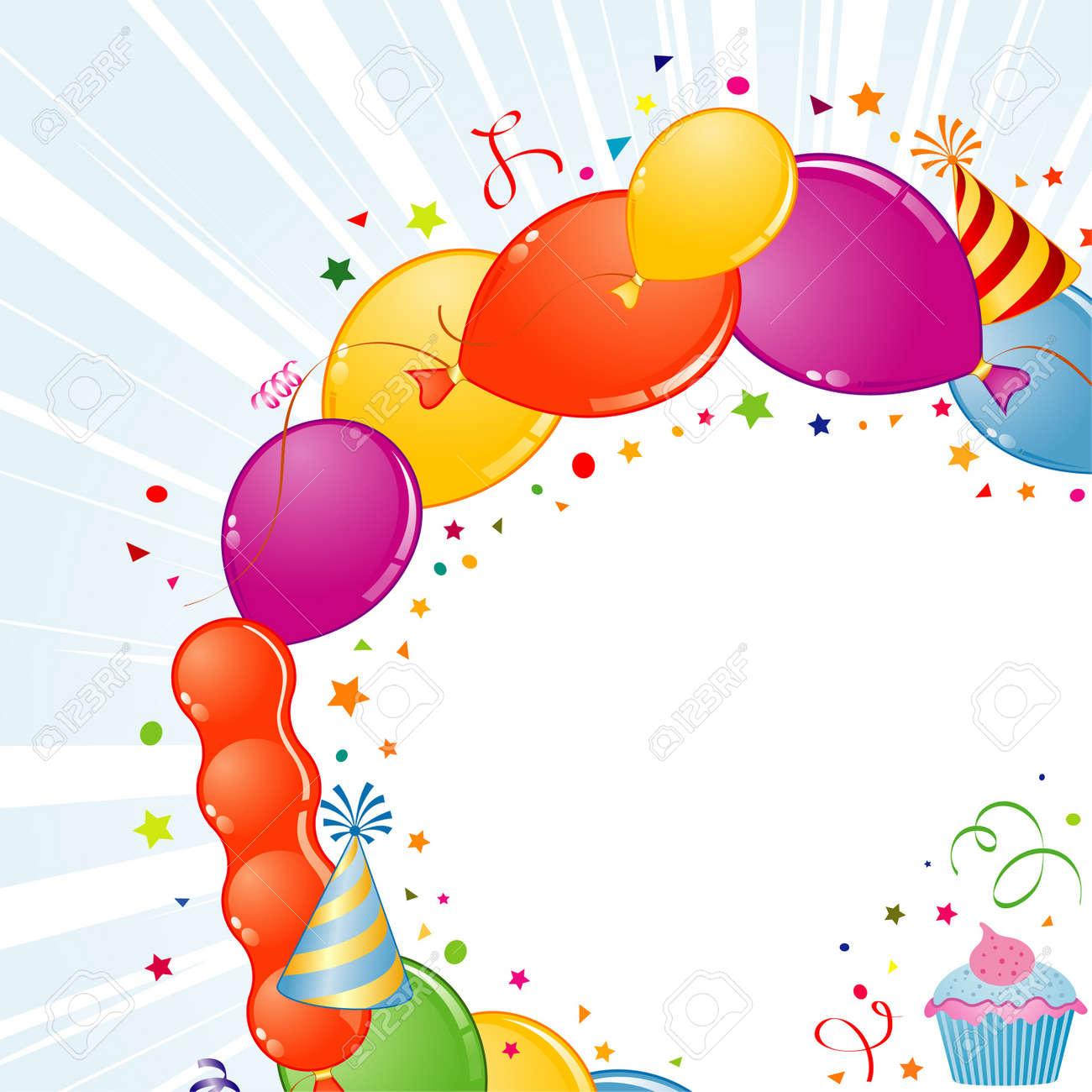 Geburtstag-Rahmen Mit Ballon, Streamer Und Partyhut, Element Für ...