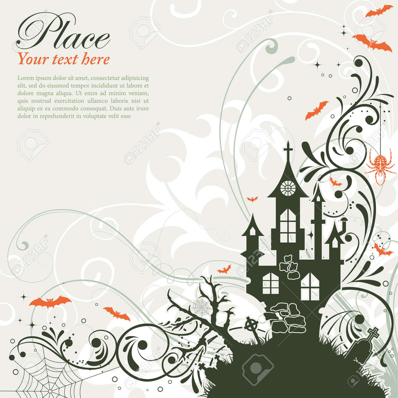 Halloween background with bat and castle, element for design, vector illustration Stock Vector - 10297307