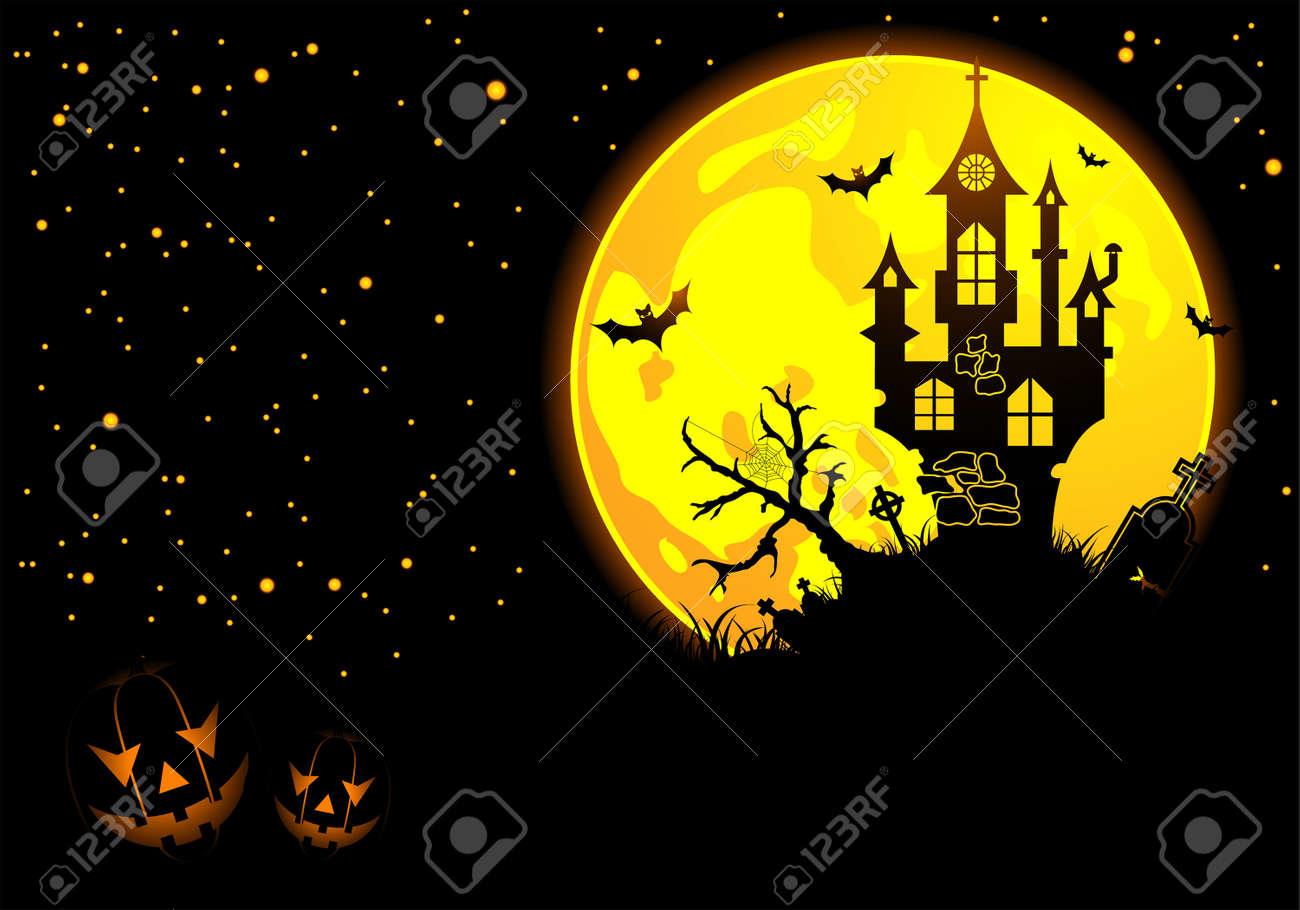 halloween background with bat, pumpkin, castle, element for design