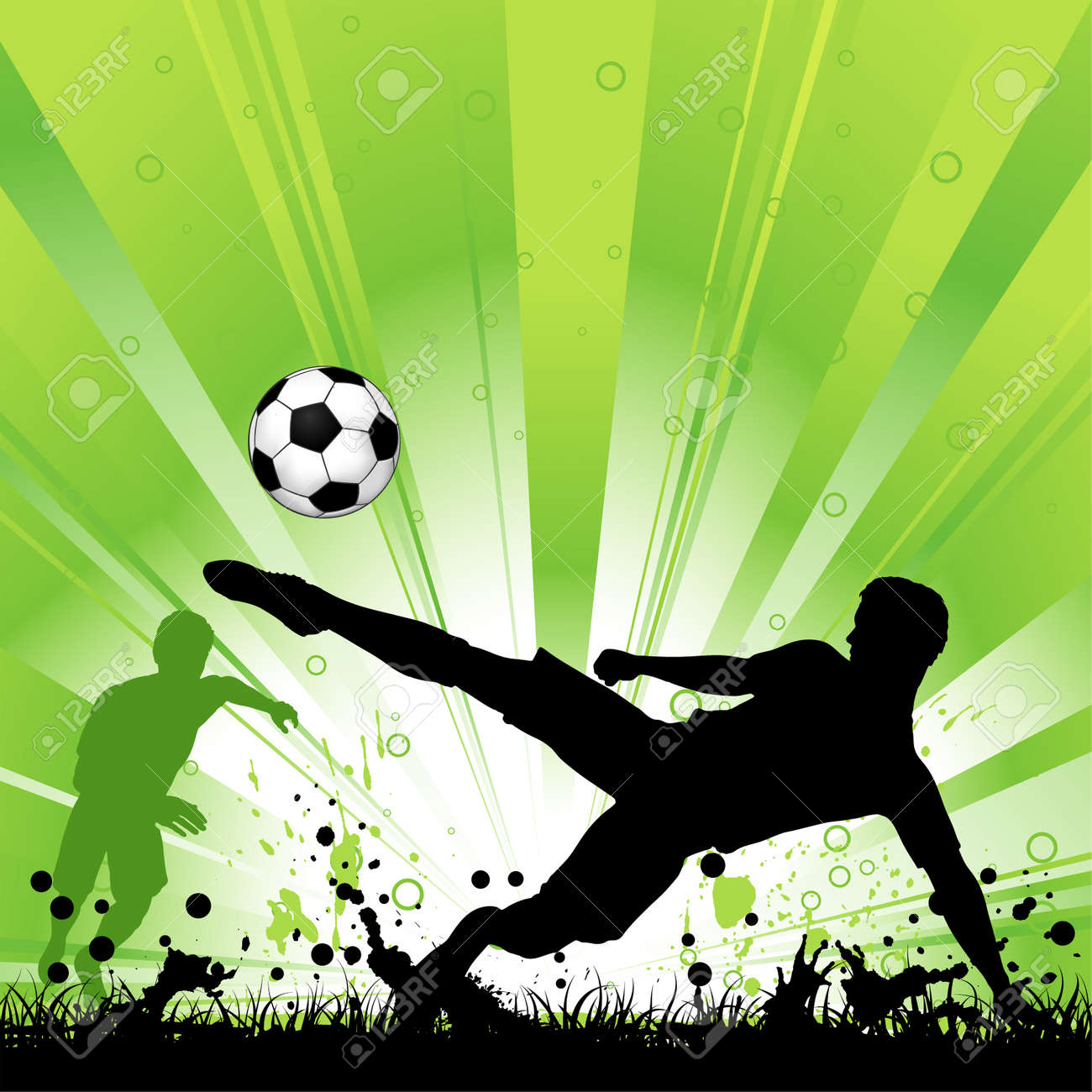 Soccer Player with ball on grunge background, element for design, vector illustration - 10475820