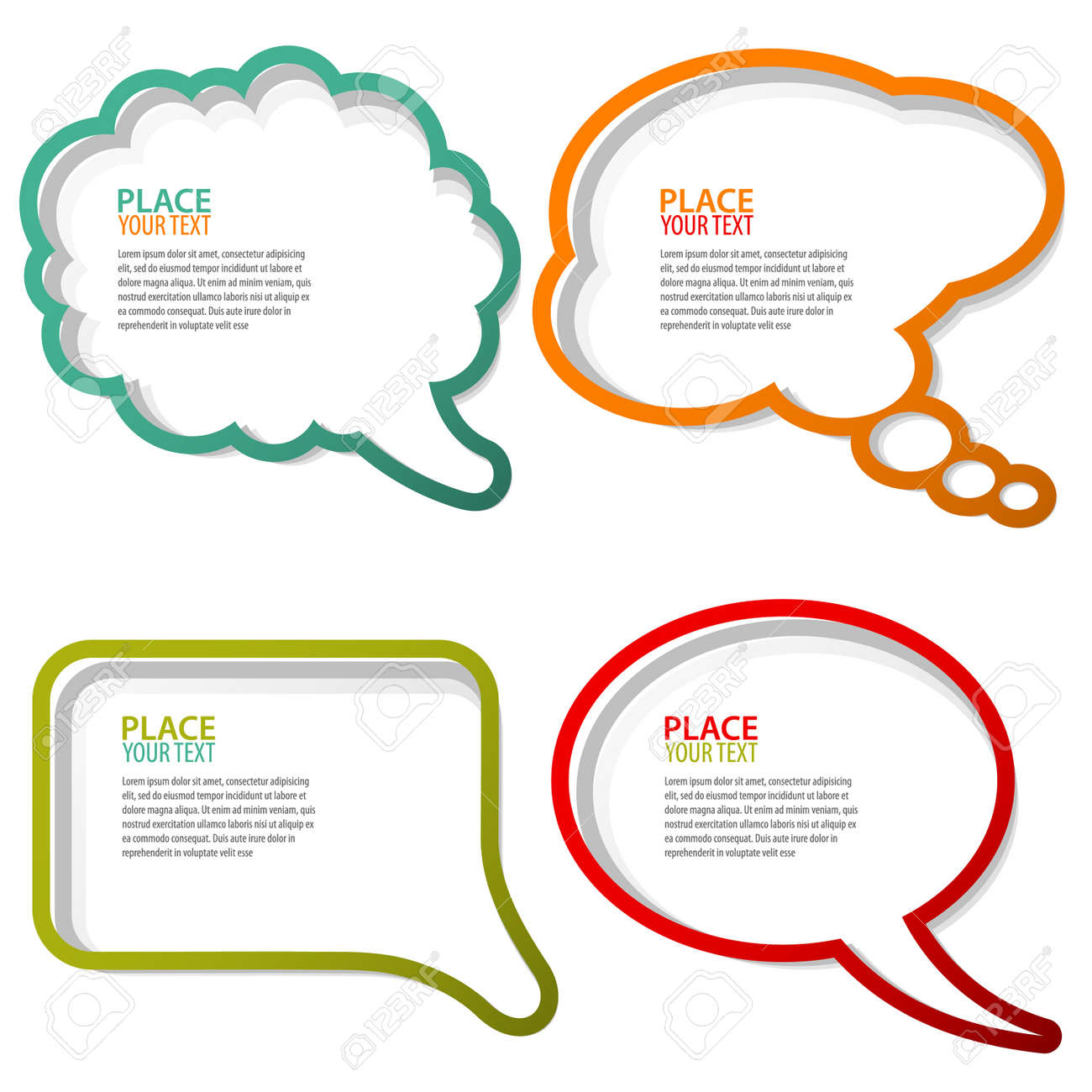 Set of speech and thought bubbles, element for design - 10475818