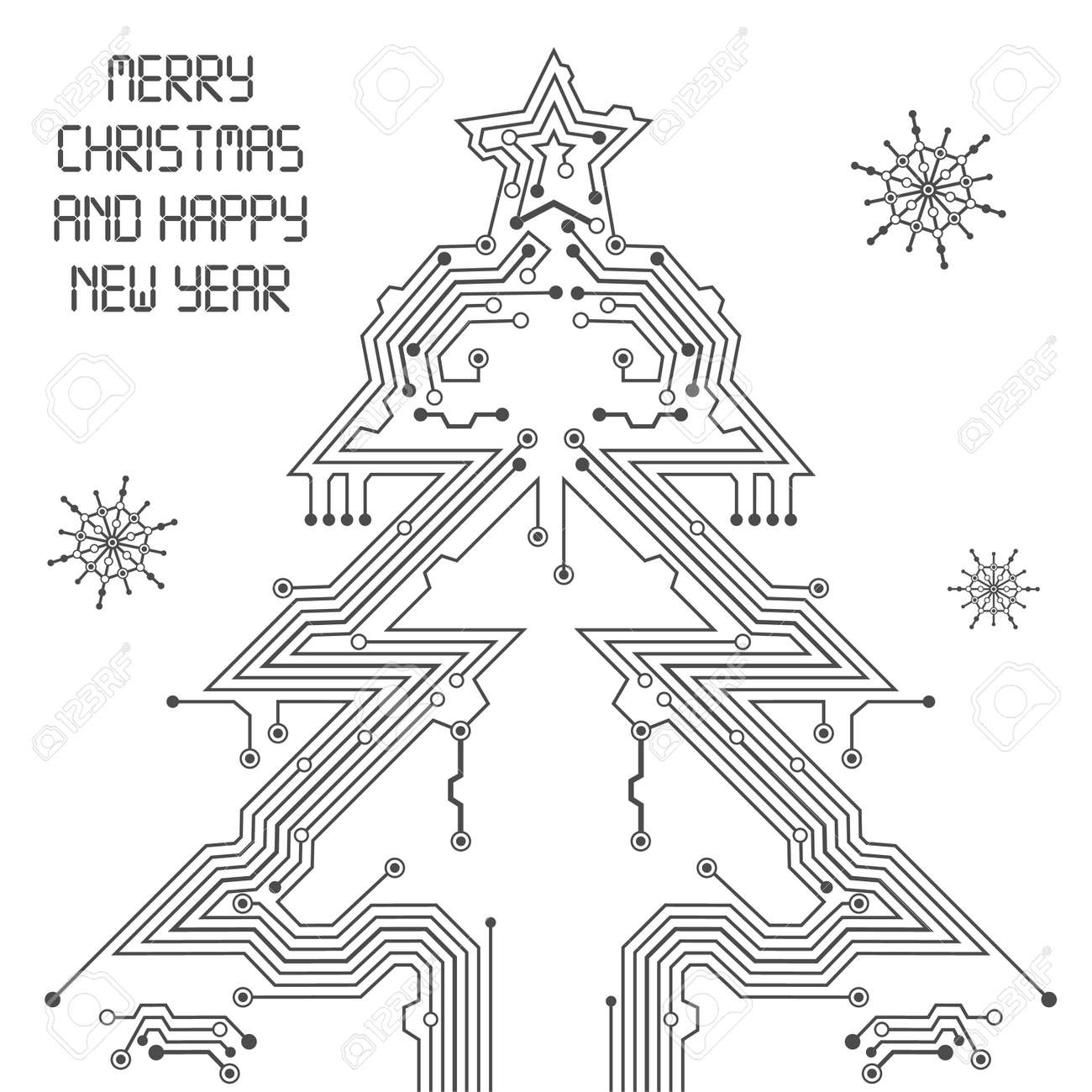 Christmas Tree From Circuit Board With Digital Snowflake Royalty ...