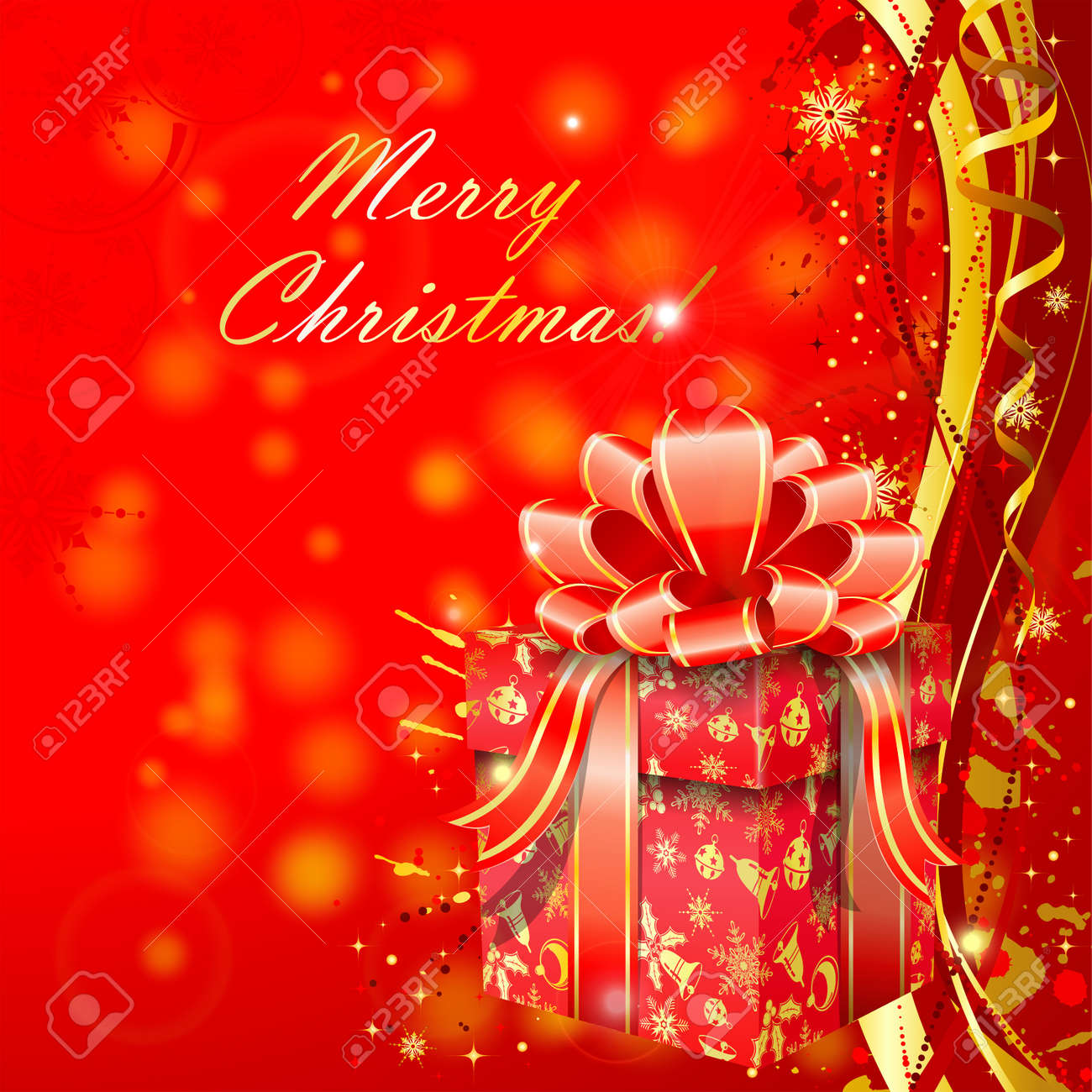 Christmas background with gift box and wave pattern, element for design Stock Vector - 10810079