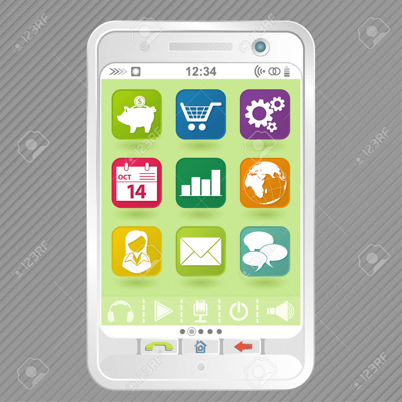 Mobile White Smartphone with icons, element for design Stock Vector - 10858340
