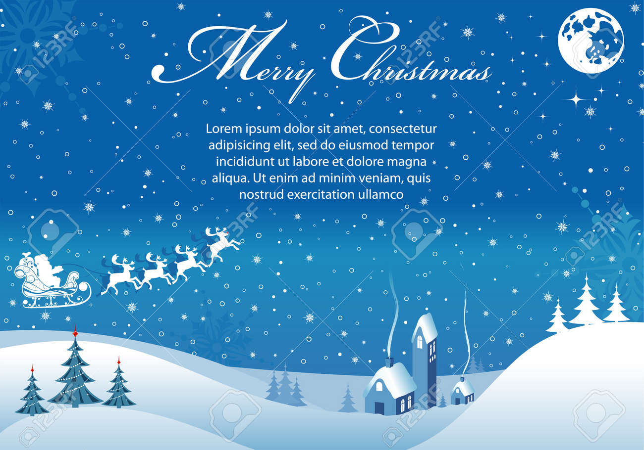 Christmas background with tree, Santa, house, element for design, vector illustration Stock Vector - 11005282
