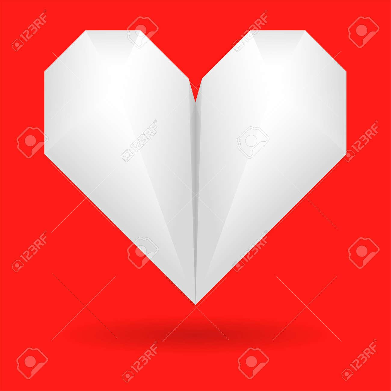 Tarjetas De San Valentin Con El Papel Del Origami Corazon Elementos - Origami-corazn