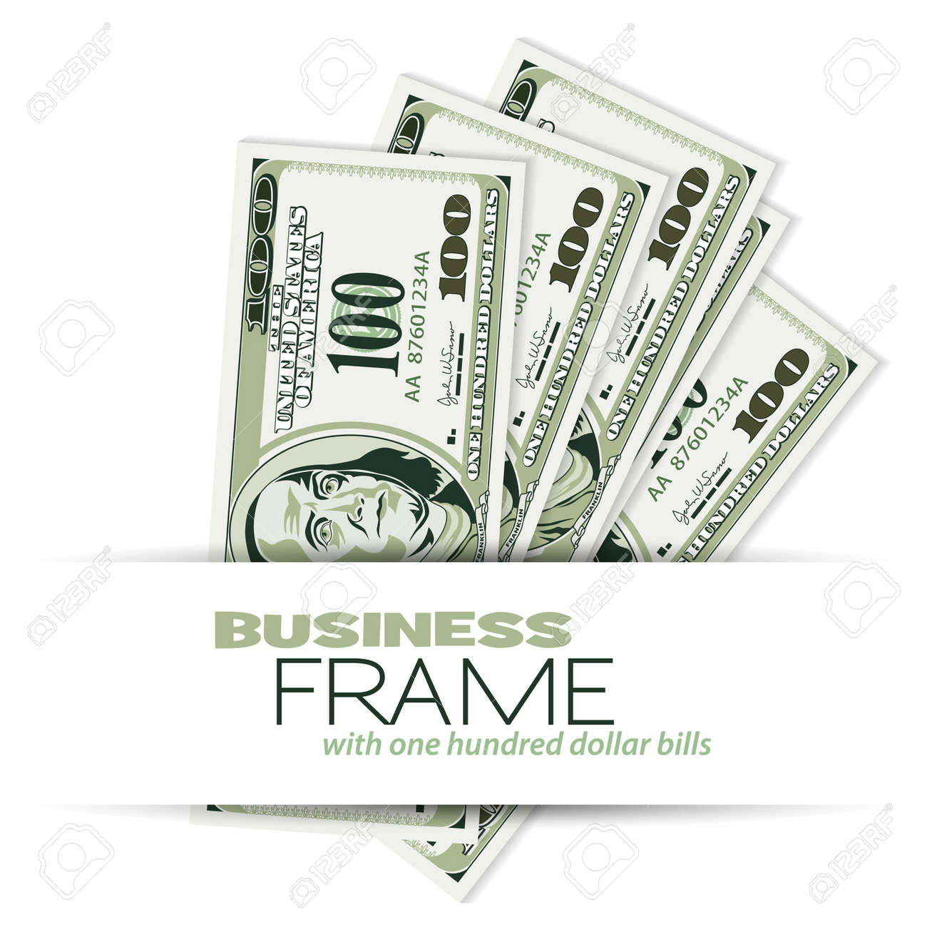 Business Frame With Dollar Bills, Template For Design Royalty Free ...