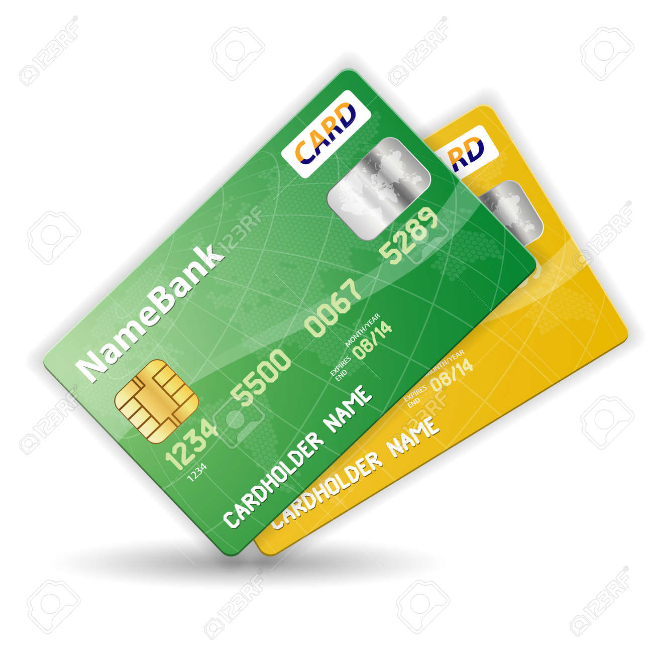 Set of Colorful Plastic Credit Cards, illustration Stock Vector - 12339291