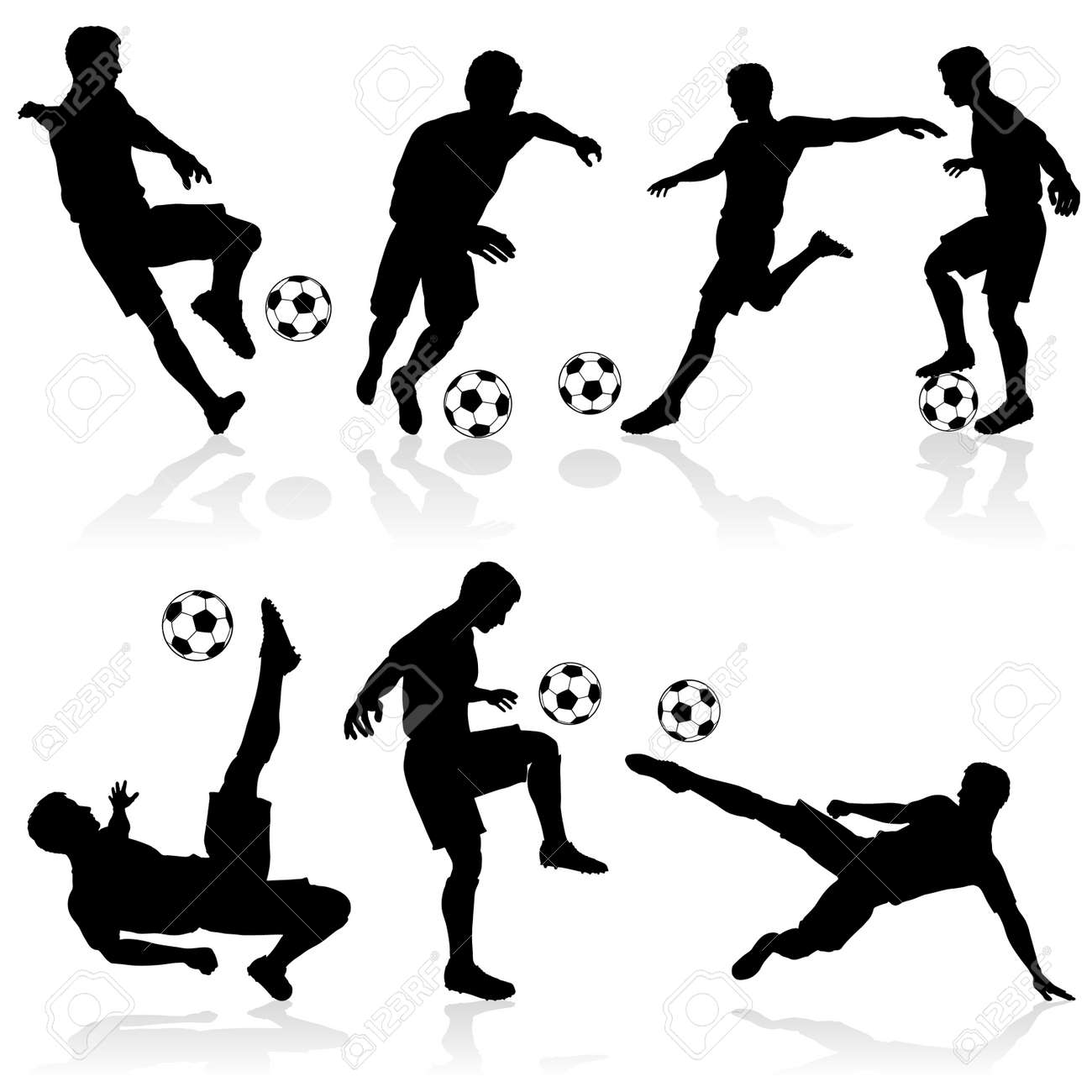 Set of Silhouettes of Soccer Players in various Poses with the Ball - 12490199