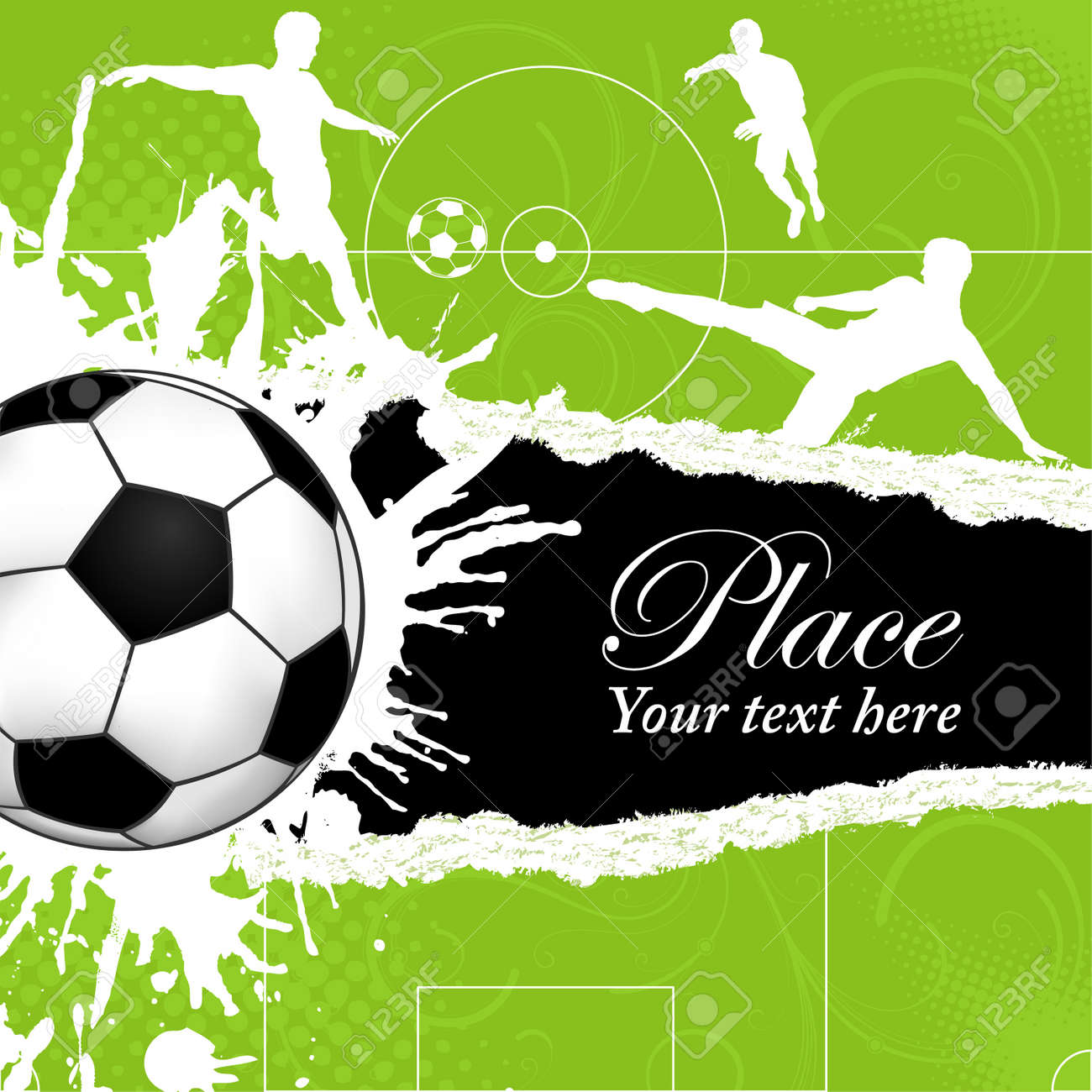 soccer ball on grunge background with silhouettes football players