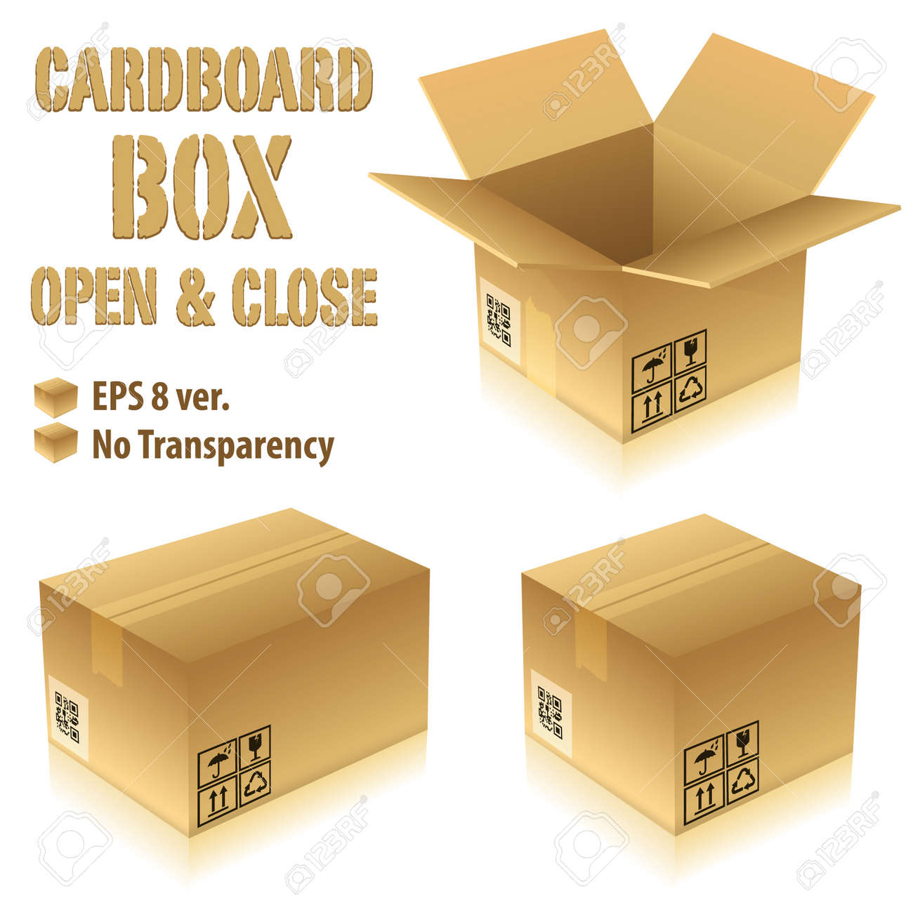 Open and Closed Cardboard Boxes with Icons, vector illustration Stock Vector - 12799473