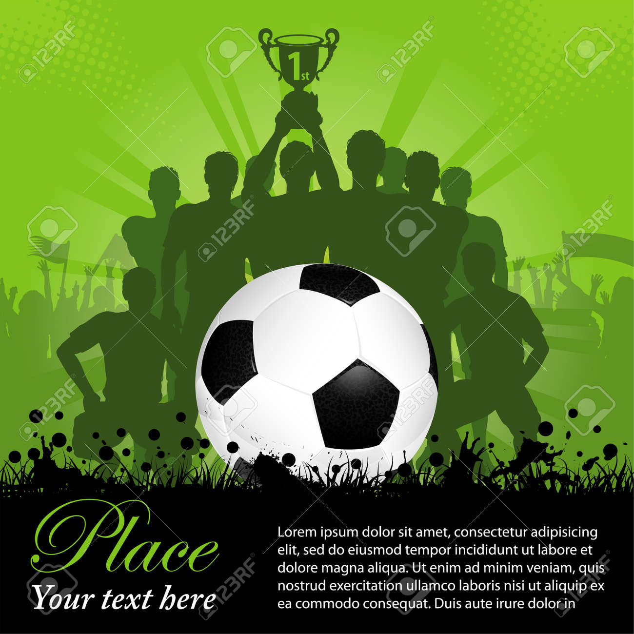 Soccer Poster with Winning Football Team with the Cup in his hands and Fans, illustration Stock Vector - 13023864