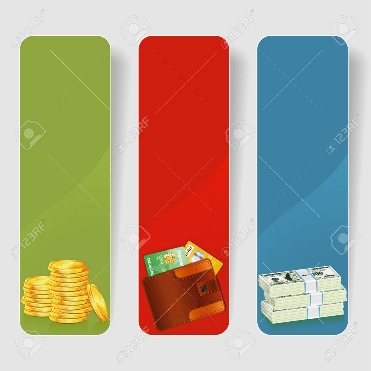 three business frame with stack of dollar gold coins and leather wallet with credit cards