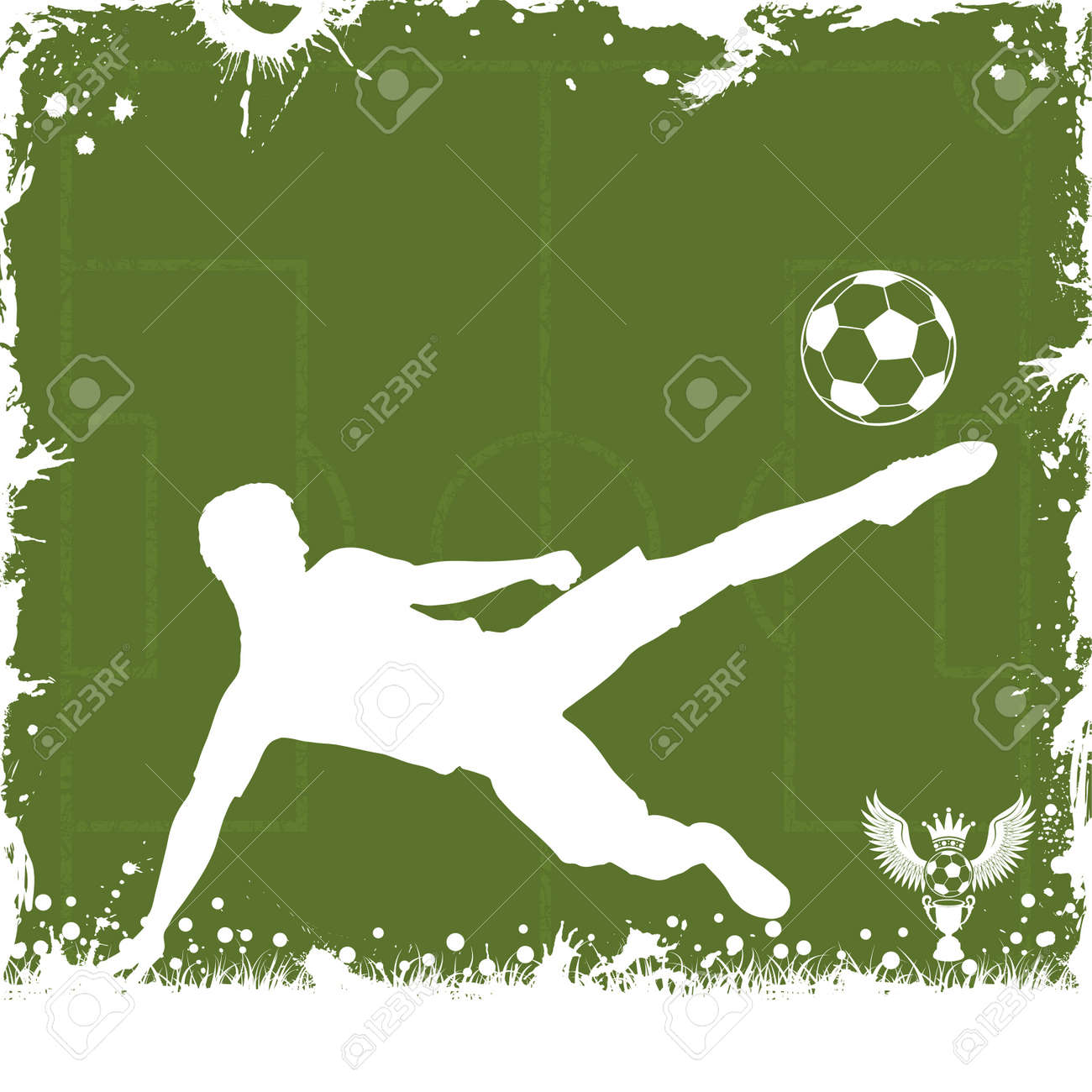 Soccer Grunge Frame with Football Player, vector illustration Stock Vector - 13483669
