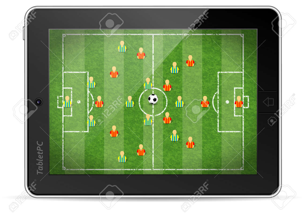 Tablet PC with Football Field with Marking, Icon Soccer Player and Ball,  illustration Stock Vector - 13483688