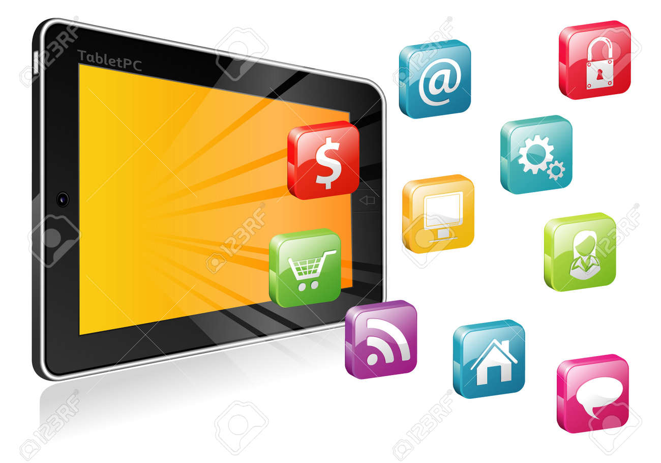 Tablet PC  with a blank place for icon and icon set Stock Vector - 13934488