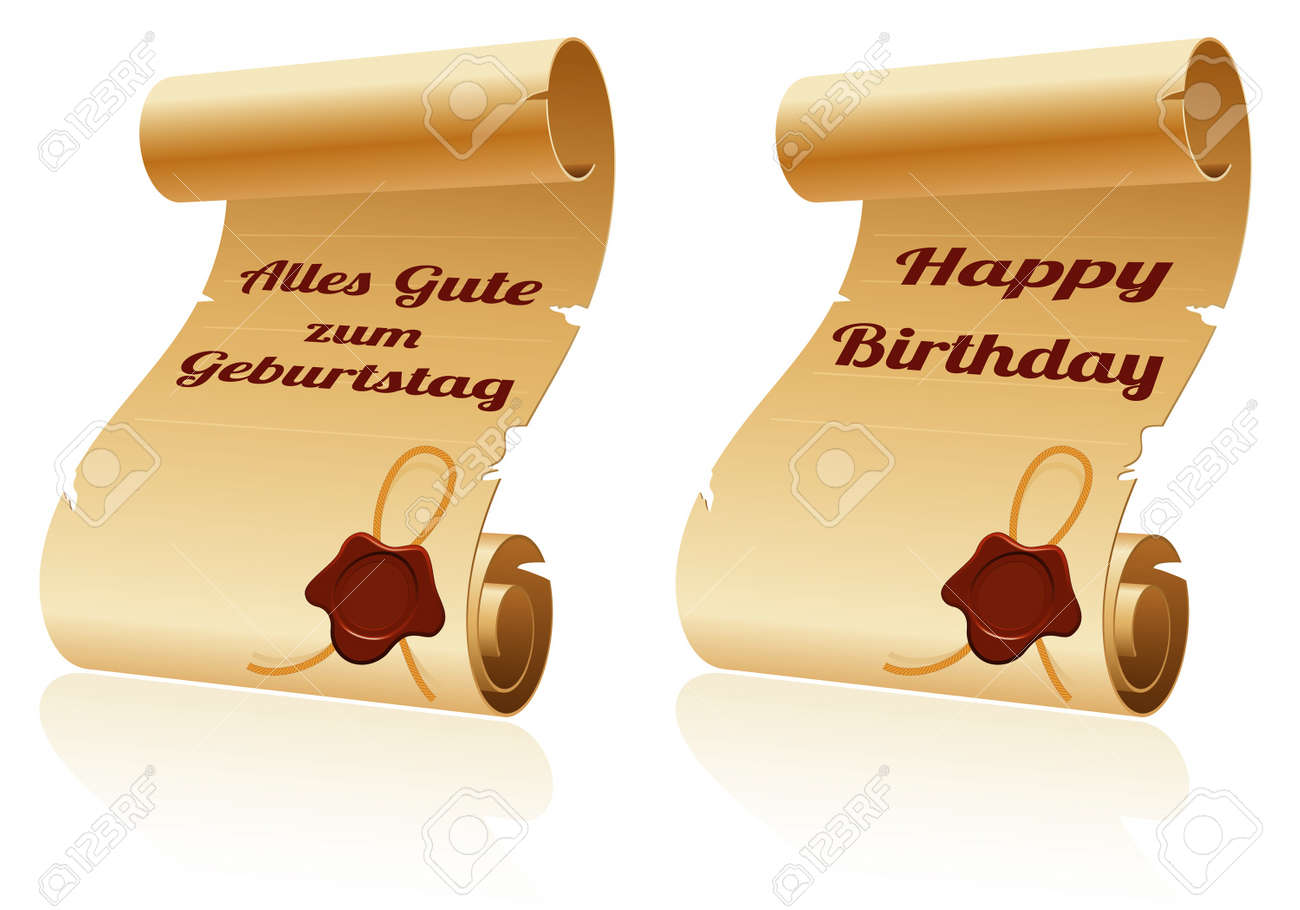 old scroll paper with sealing wax and happy birthday, template, Powerpoint templates