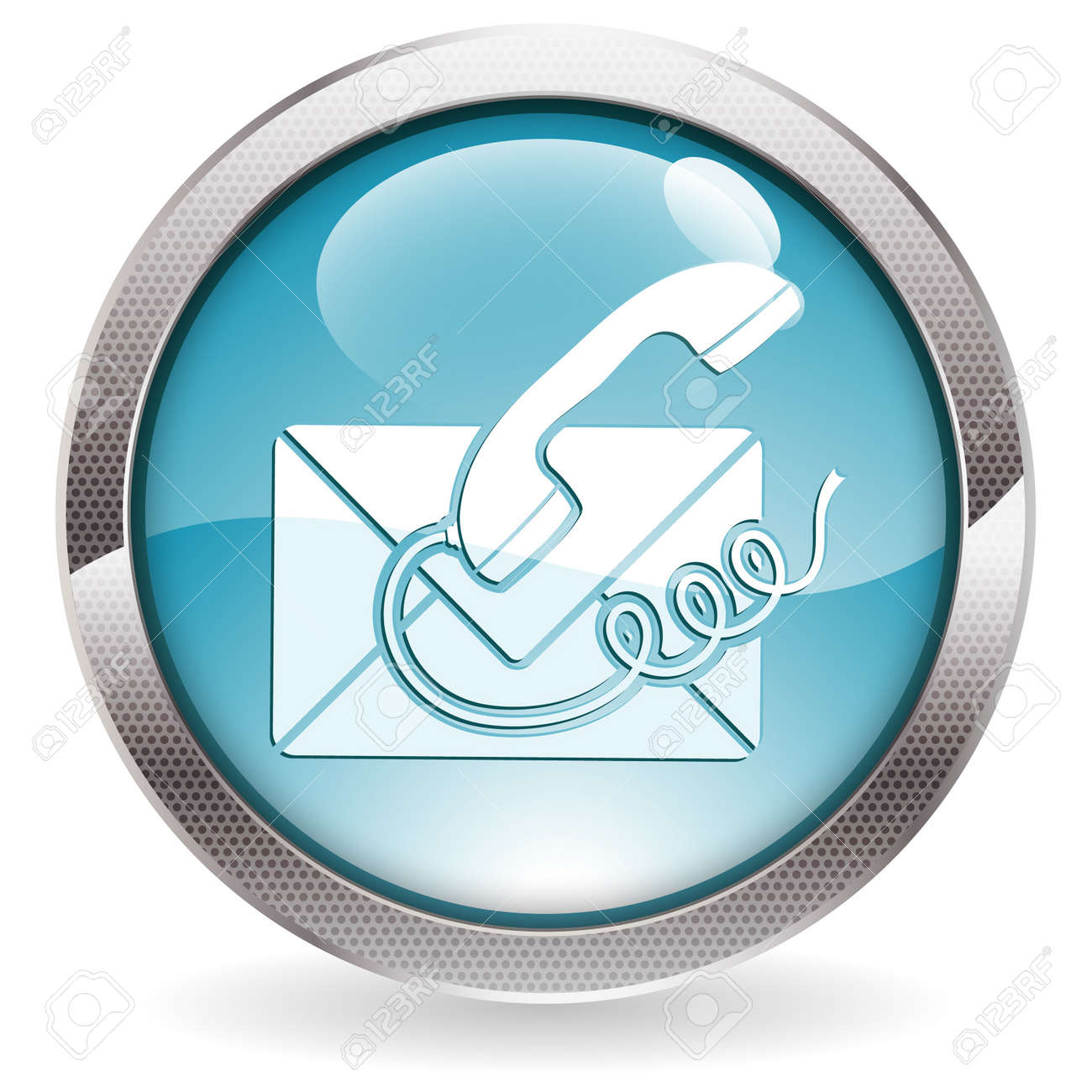 Circle Button with Telephone and Envelope Icon Contact Us, vector illustration Stock Vector - 14937310