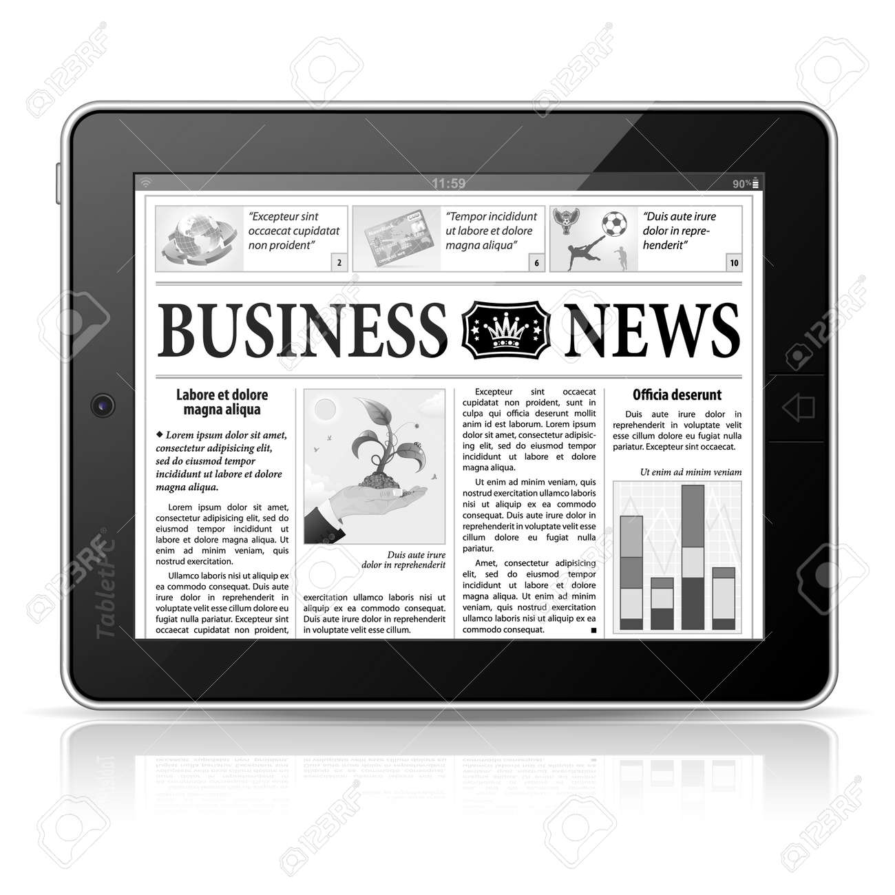 Digital News Concept with Business Newspaper on screen Tablet PC, Stock Vector - 15163217