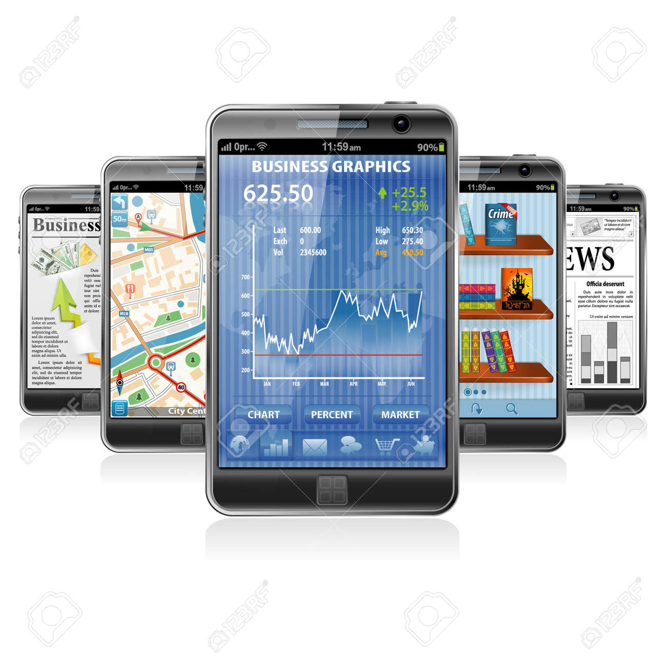 Collect Smartphones with Stock Market Application, Business News, GPS Navigation and Reading Books Application Stock Vector - 15163221