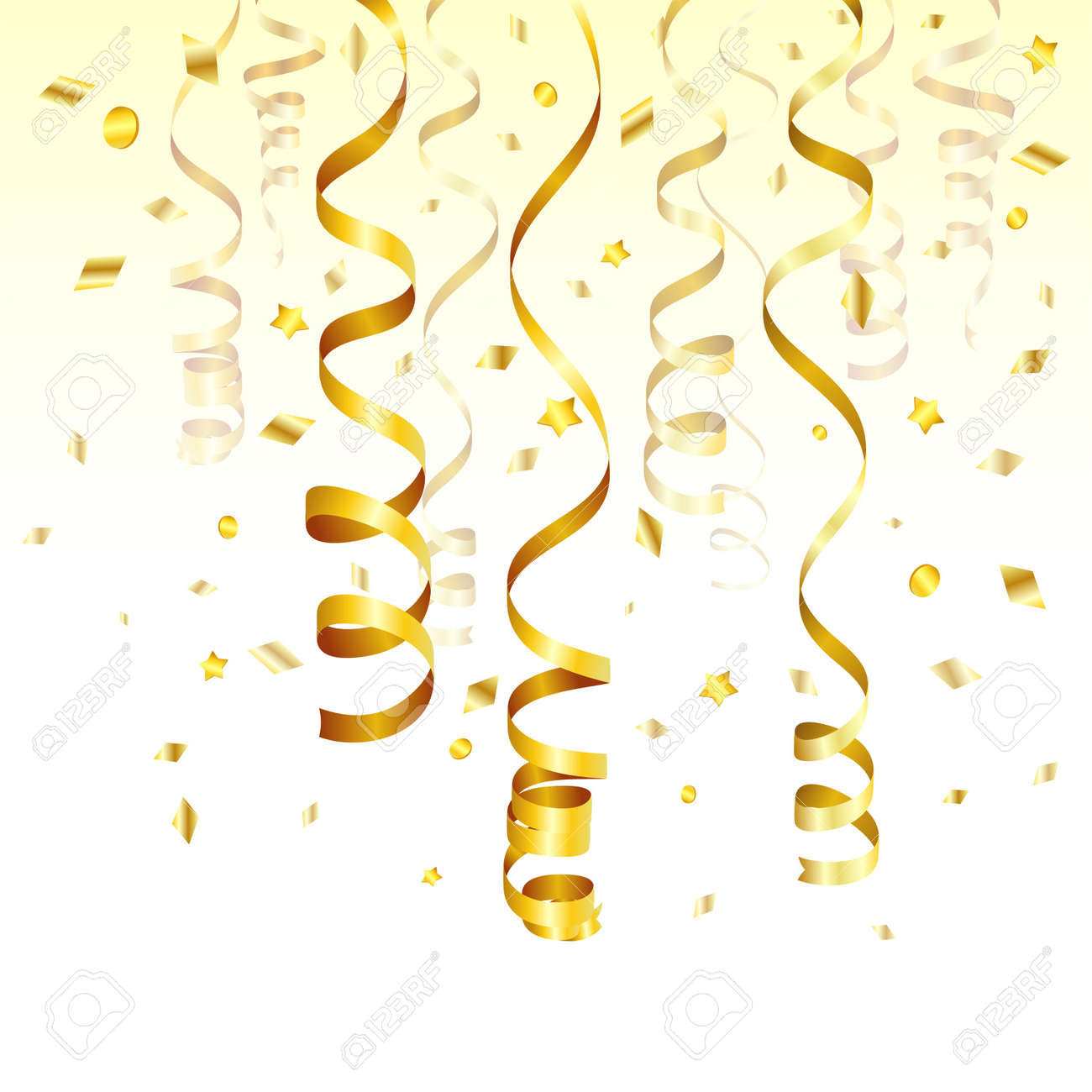 Birthday Background with Gold Streamer and Confetti, vector illustration Stock Vector - 15537645