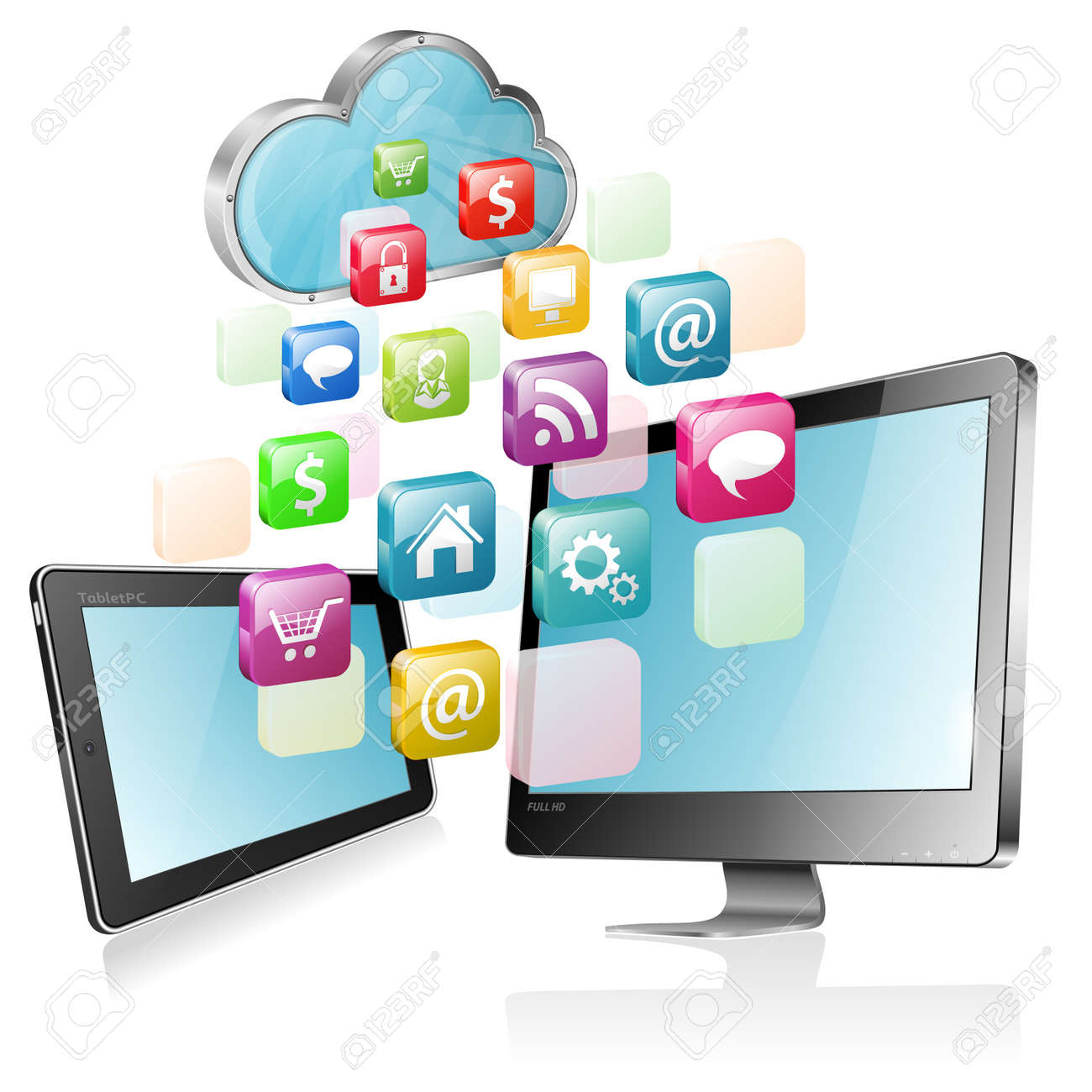 Cloud Computing Concept - Cloud with Tablet PC, Full HD Monitor