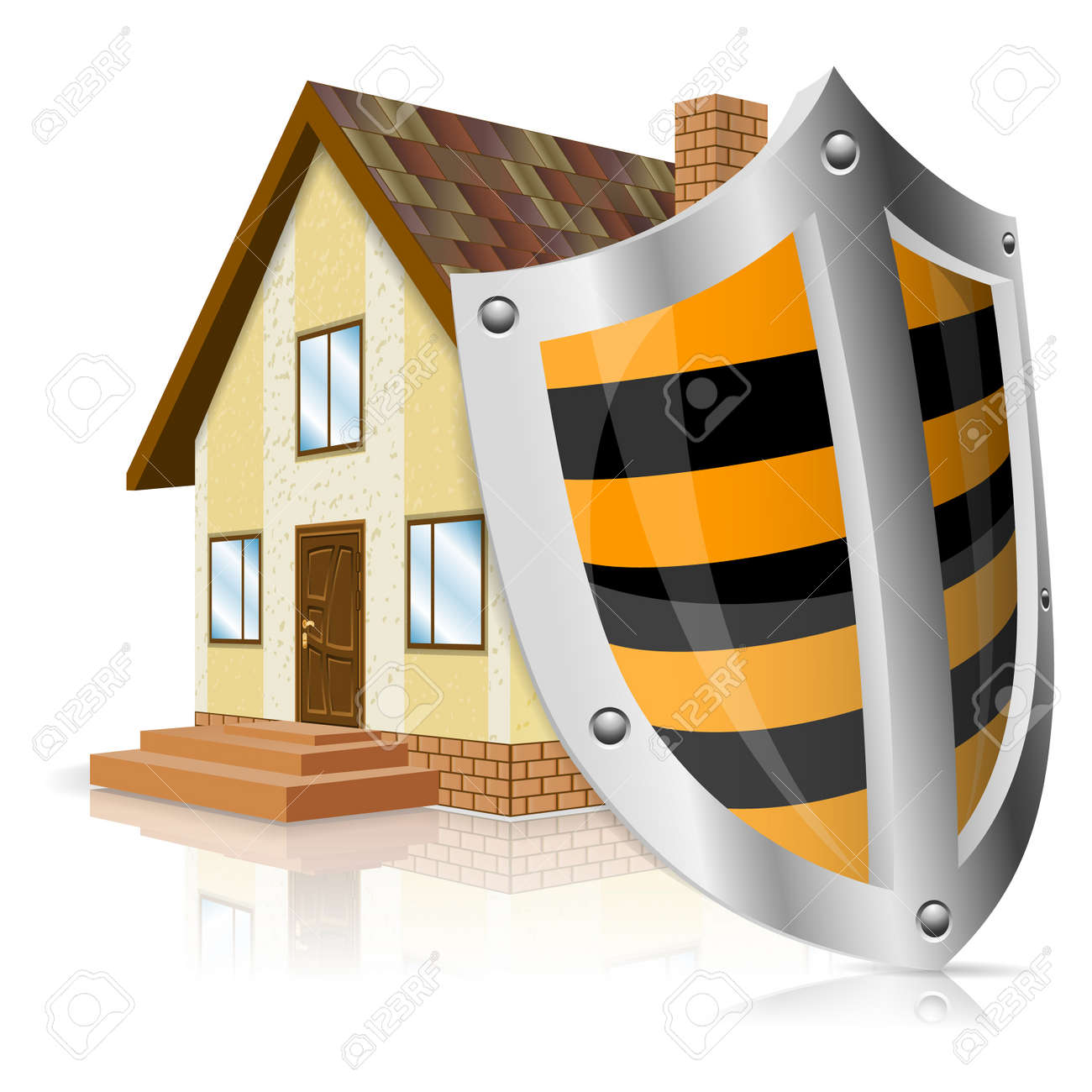 Shield House home icon with shield - safe house concept royalty free cliparts