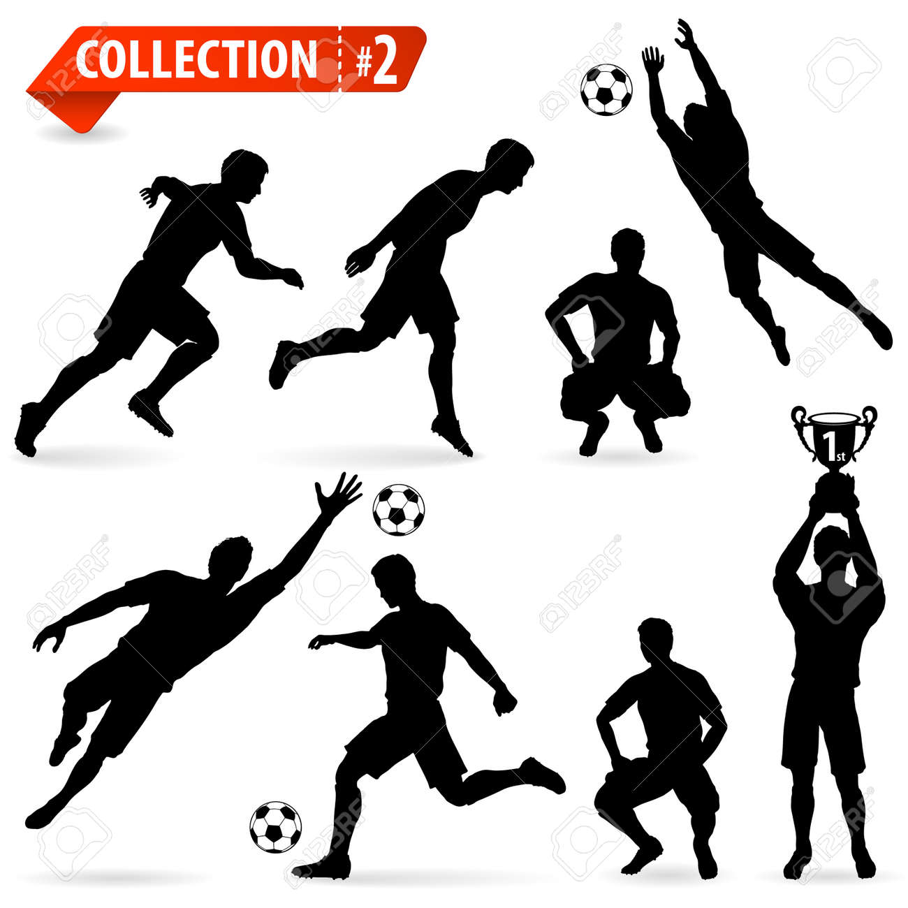 set of silhouettes of soccer players in various poses with the