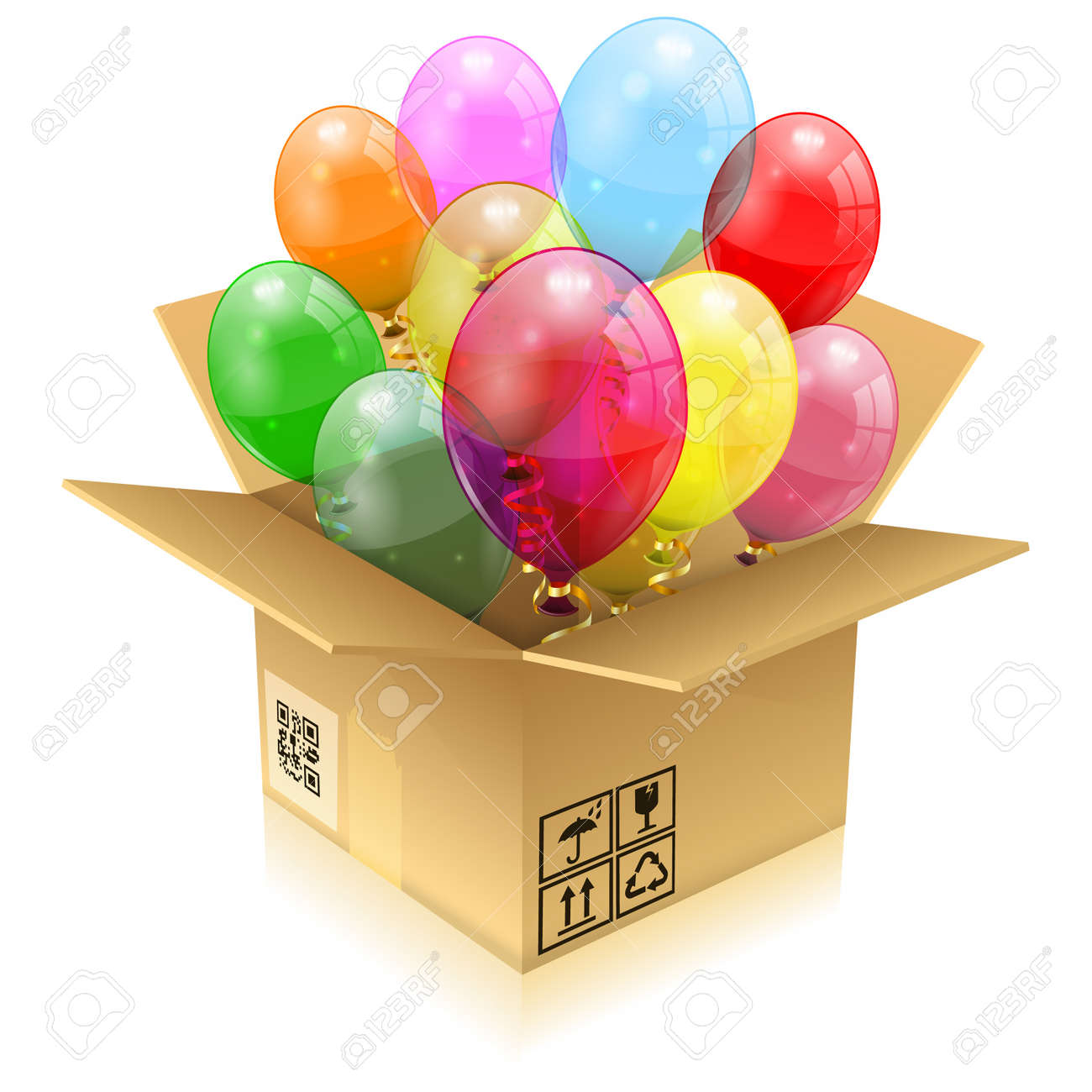 Open Cardboard Box With 3D Transparent Birthday Balloons Streamer Isolated On White Easy