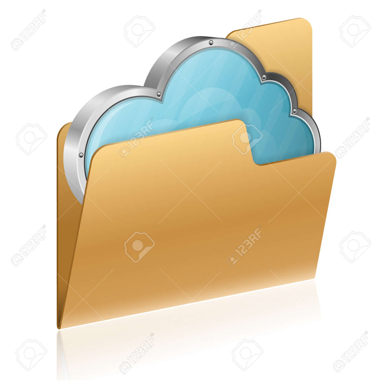 Cloud Computing Concept - Cloud in Computer Folder, isolated on white, vector icon Stock Vector - 16221627