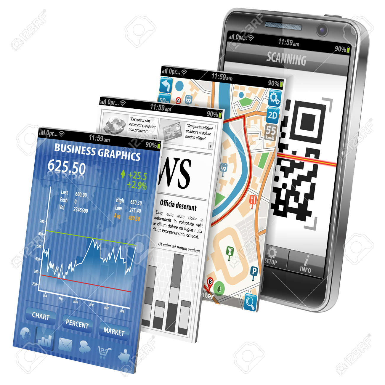 Collect Smartphone Applications - Stock Market, Business News, GPS Navigation and Scanning QR Code, icon isolated on white, vector Stock Vector - 16221631
