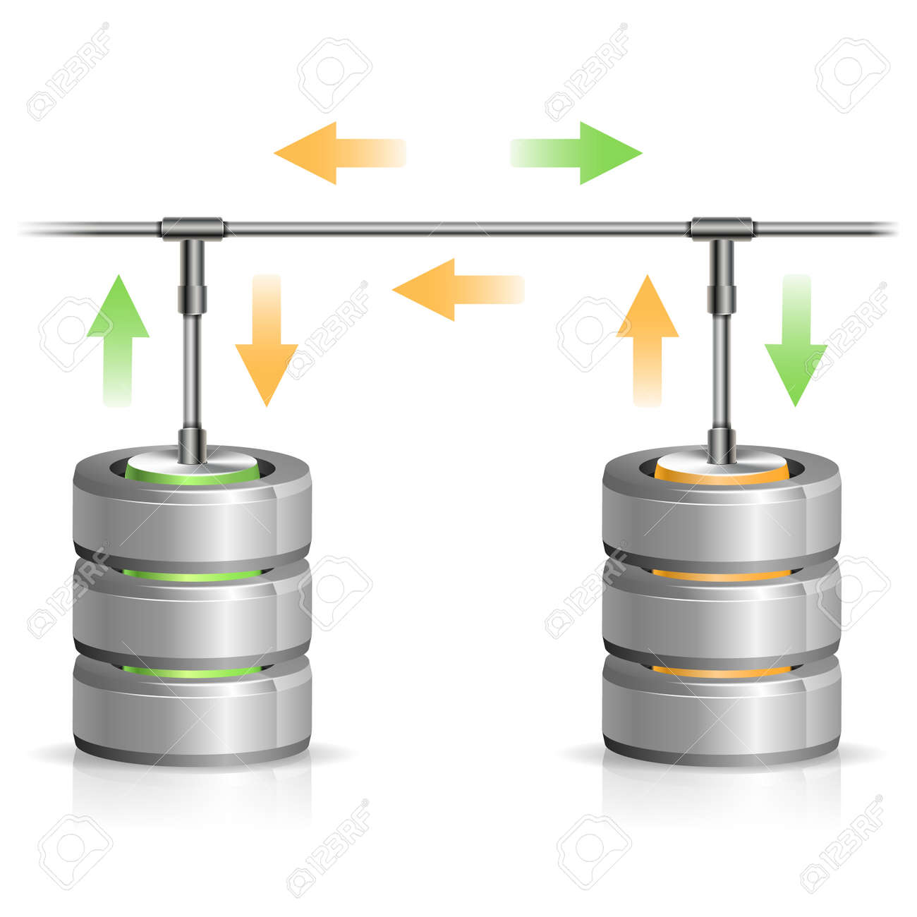 Concept Backup Database And Hard Disk Icon With Arrow, Isolated ...