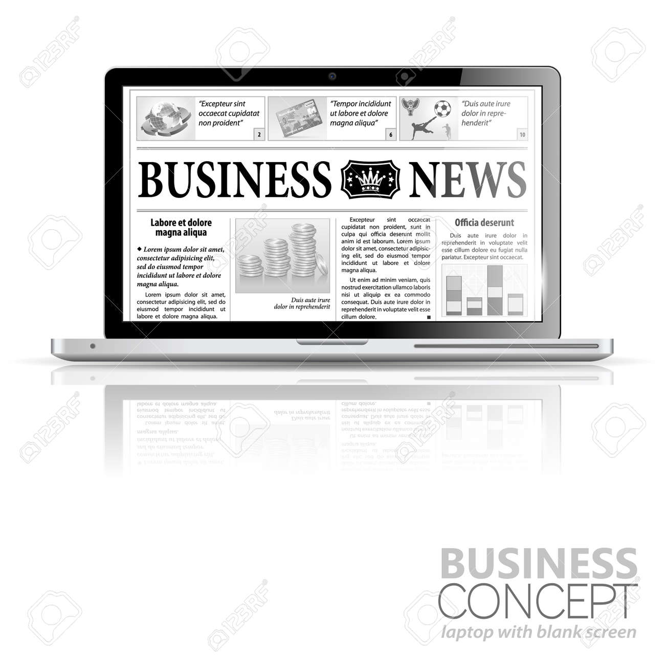 Digital News Concept with Business Newspaper on screen Laptop, icon isolated on white Stock Vector - 16325452