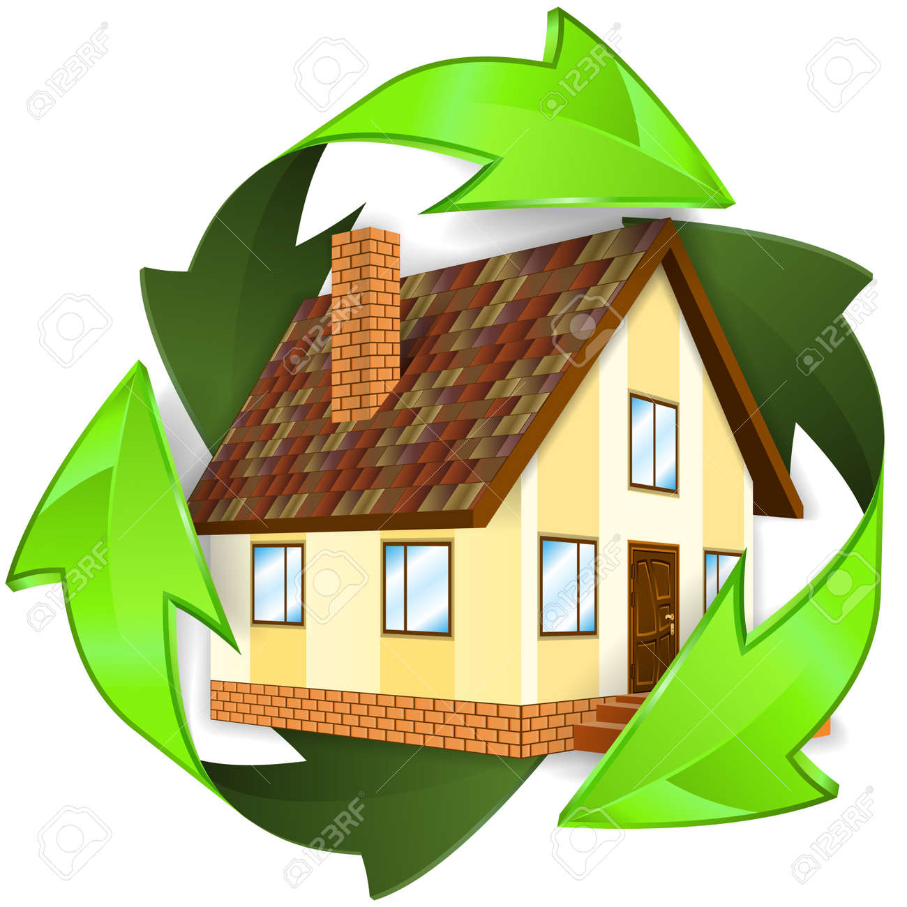 Environmental and Energy Saving Concept - House icon in Recycling Symbol, isolated on white background, vector illustration Stock Vector - 16424597