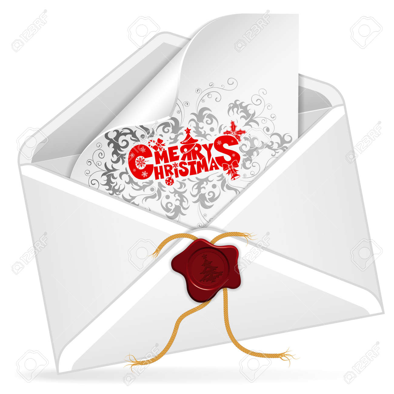 Envelope with Christmas Card, isolated on white,  illustration Stock Vector - 16463924