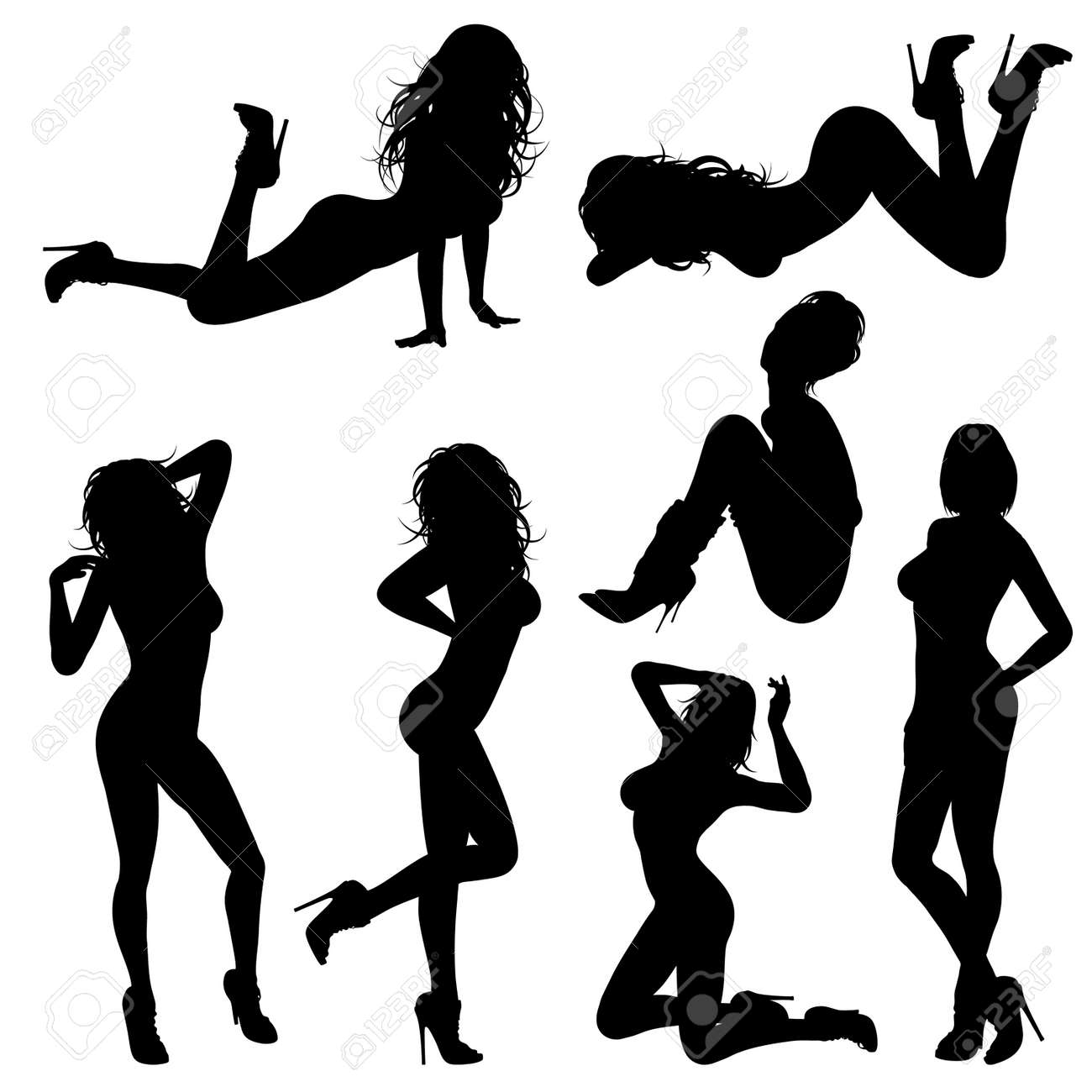 silhouettes sexy girl in various poses isolated on white background rh 123rf com sexy victoria secret model hairstyles sexy victorias secret license plates