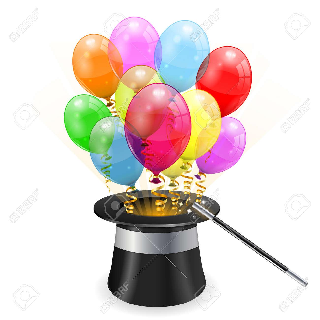 chapeau magicien chapeau de magicien avec 3d ballons danniversaire transparents et banderoles