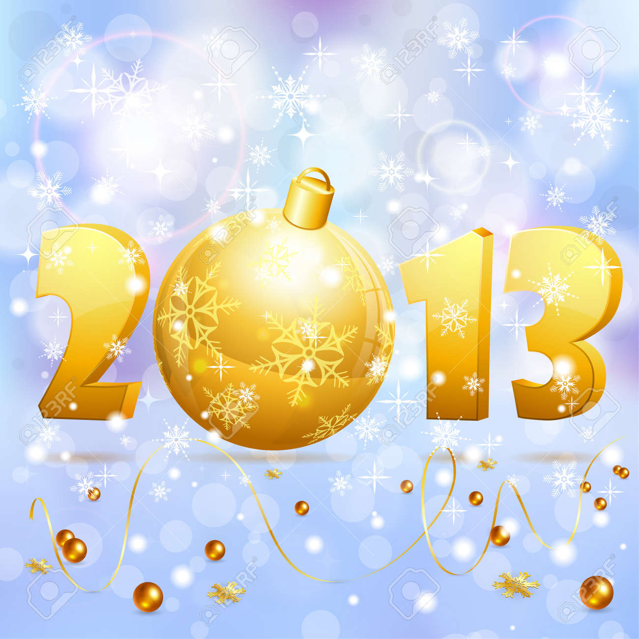 New Year background with stylized 2013 with Bauble, element for design, vector illustration Stock Vector - 17470801