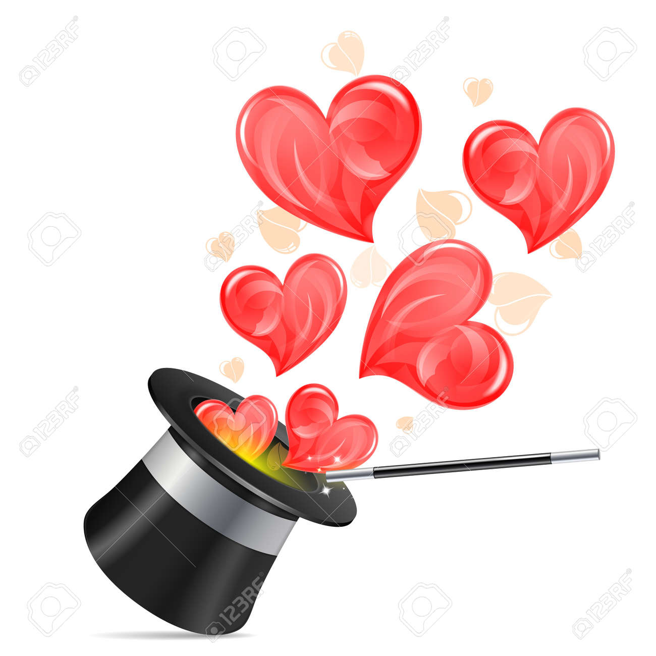 Magician Hat with Hearts and Wand, isolated on white background, vector illustration Stock Vector - 17510761