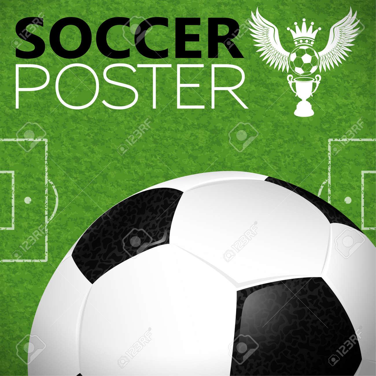 Football Field with Soccer Ball, vector illustration Stock Vector - 17681834