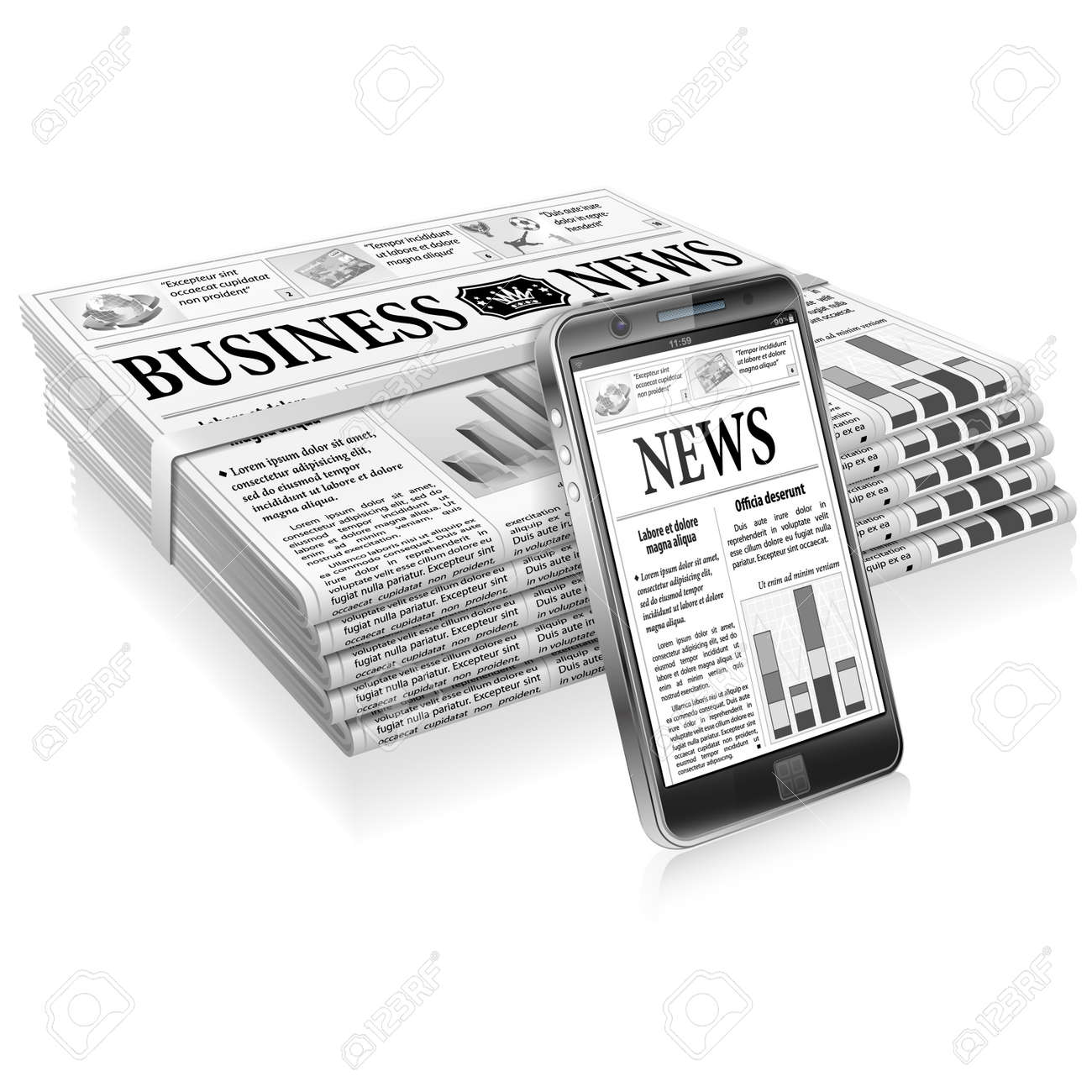 Digital News Concept with Business Newspaper on Screen Smartphone and Stack Newspapers, vector isolated on white background Stock Vector - 18253548
