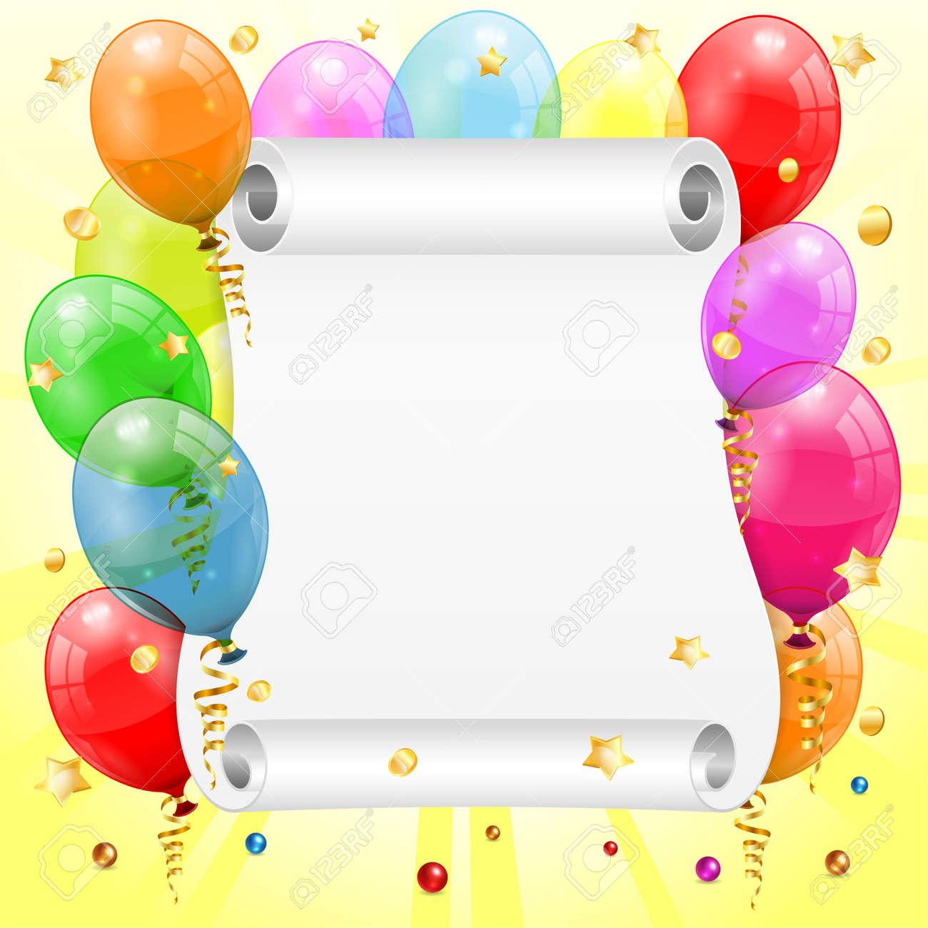 Cadre Anniversaire cadre d'anniversaire avec 3d ballons d'anniversaire transparent