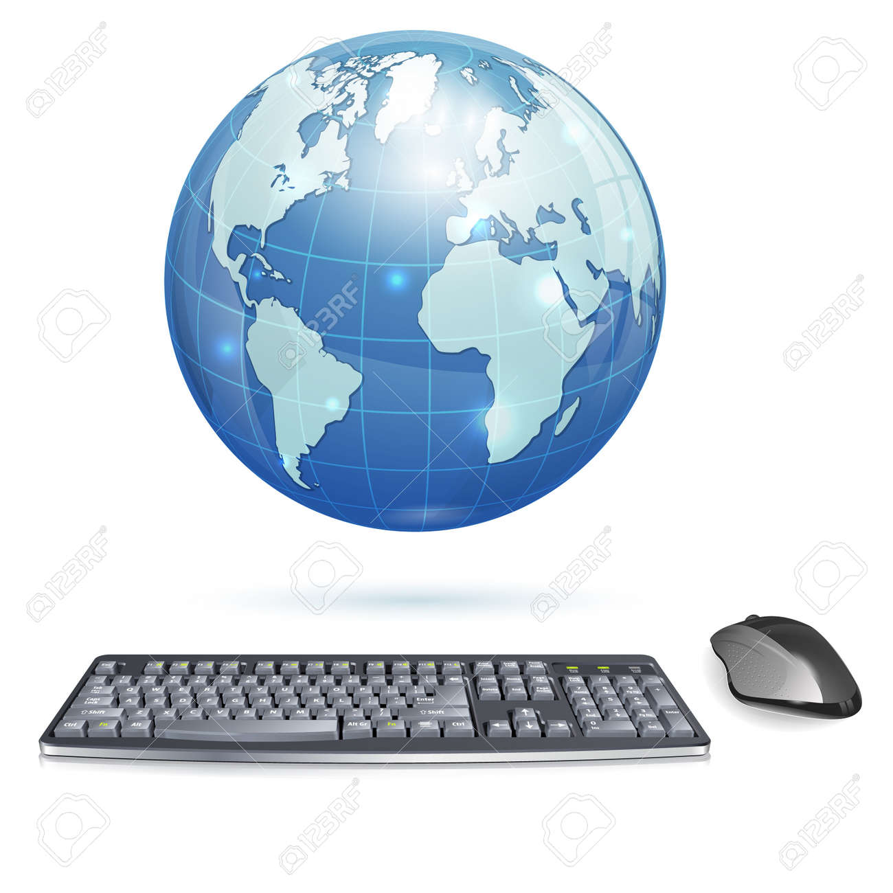 Computer Concept - Realistic 3D Keyboard and Mouse with Earth, isolated on white background, illustration Stock Vector - 18421737