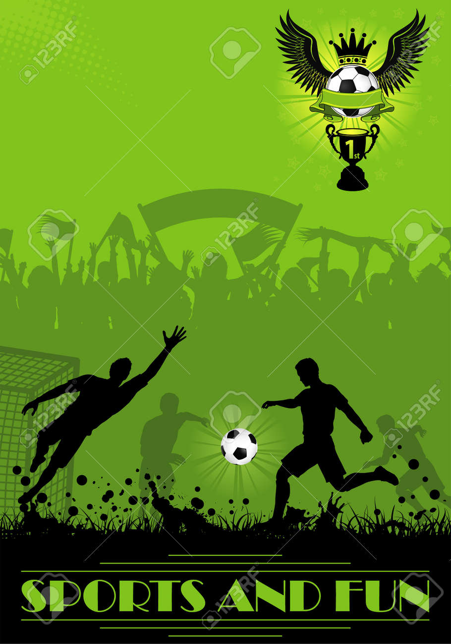 Soccer Poster with Players and Fans on grunge background, element for design, vector illustration Stock Vector - 18540130