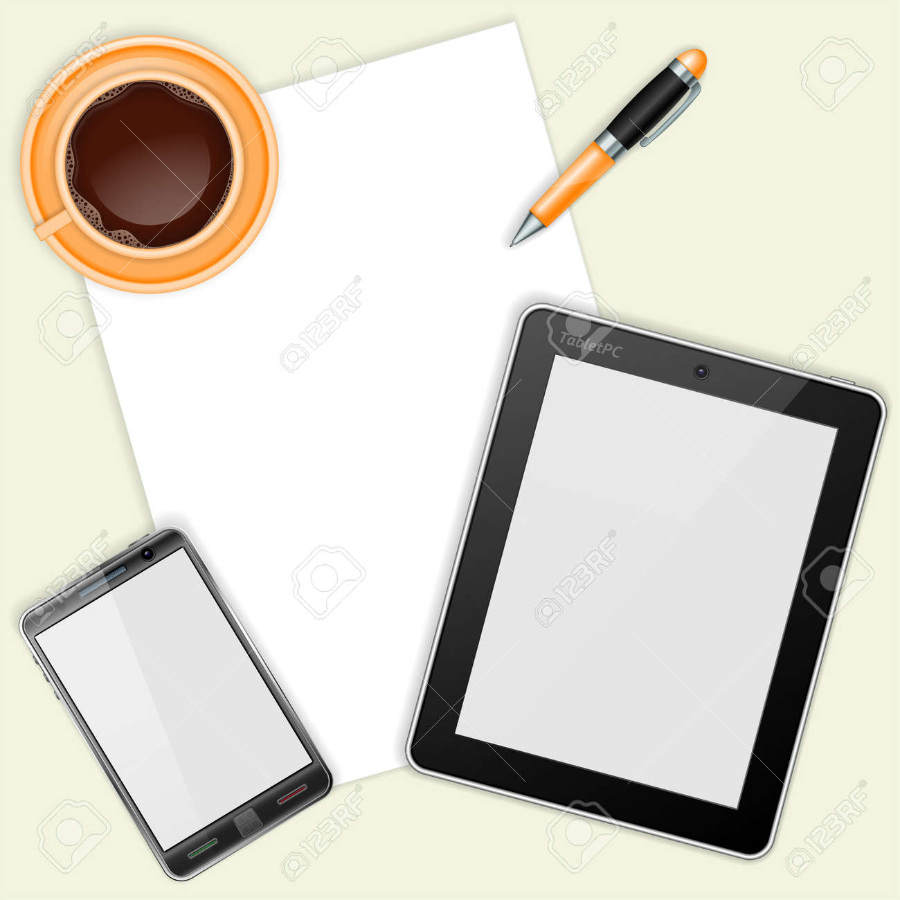 Business and Corporate Work Concept with Tablet PC, Mobile Phone with Blank Screen, Sheet Paper, Pen and Coffee Cup Stock Vector - 18787102