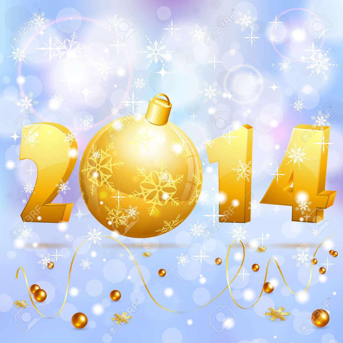 New Year background with stylized 2014 with Bauble, element for design, vector illustration Stock Vector - 23103574