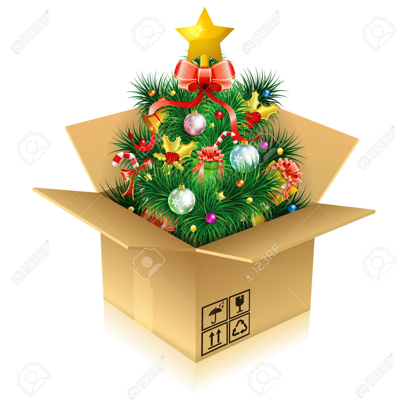 christmas tree with candy fir branches mistletoe gift in cardboard box icon - Christmas Tree Boxes